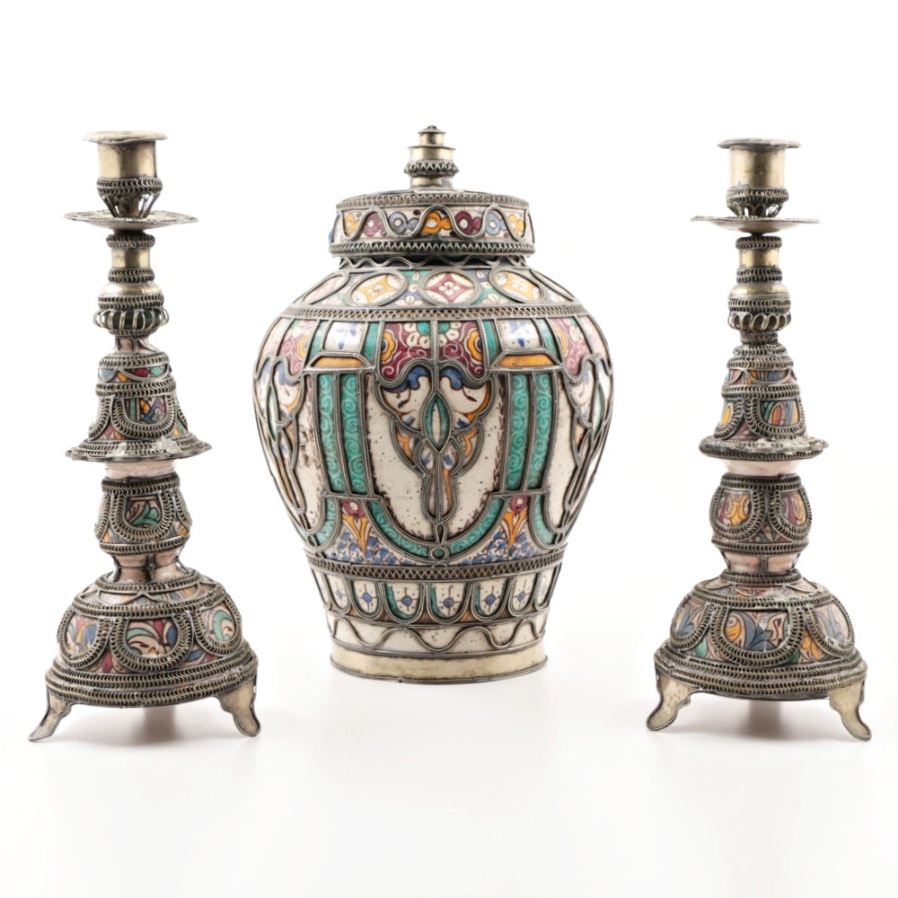20th Century Moroccan Pottery Garniture Set with Pewter Overlay