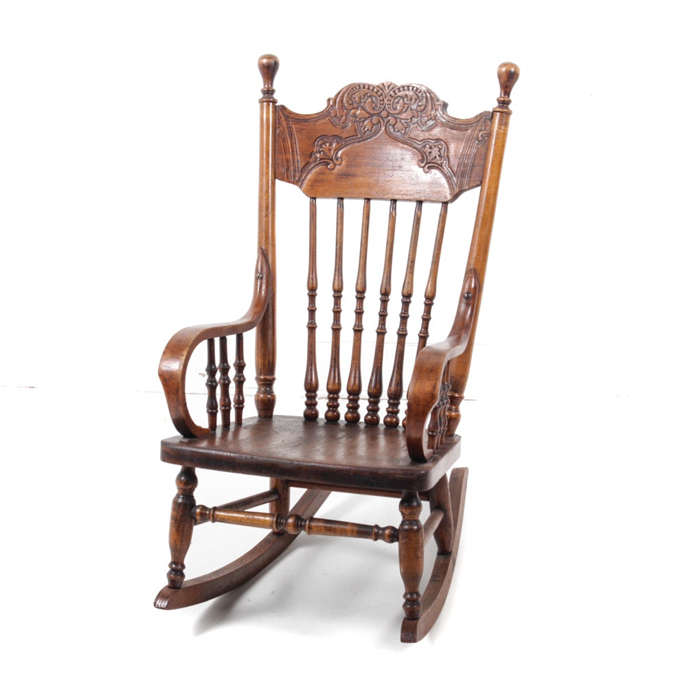 Antique Child's Pressed Back Rocking Chair