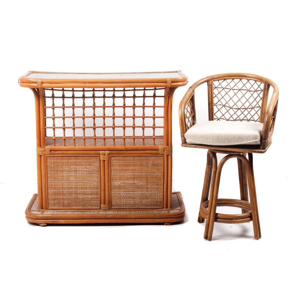 Bamboo and Rattan Bar and Stool