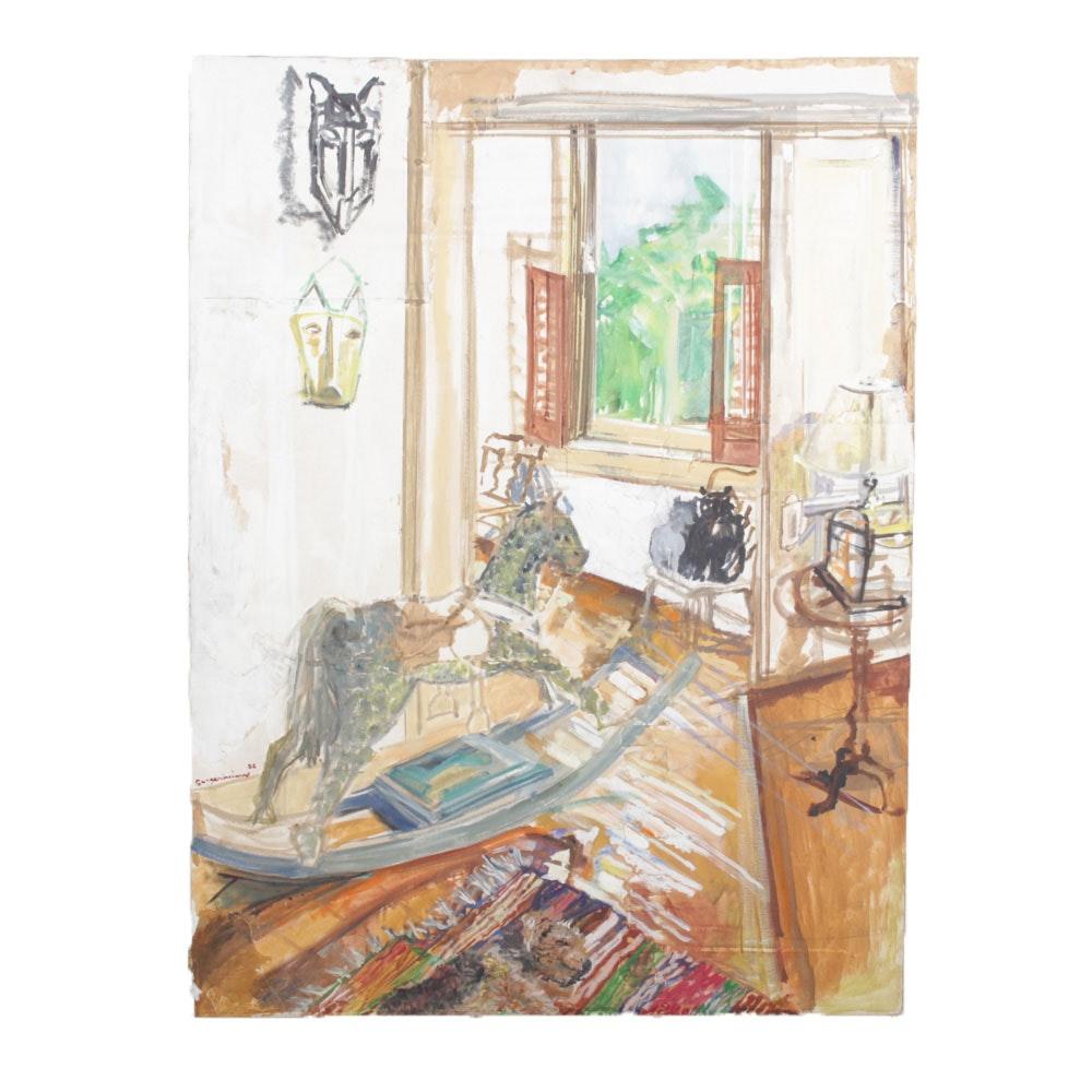 Guggenheim Post-Impressionist Mixed Media Abstract Room Scene