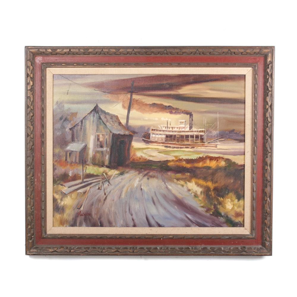 Robert M. Rucker Oil on Canvas Riverboat Scene