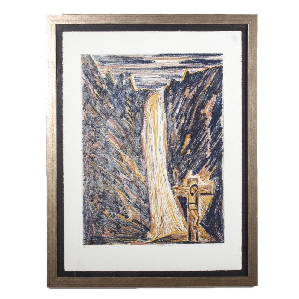 "Robert Shives Color Etching ""Waterfall Cross IV"""