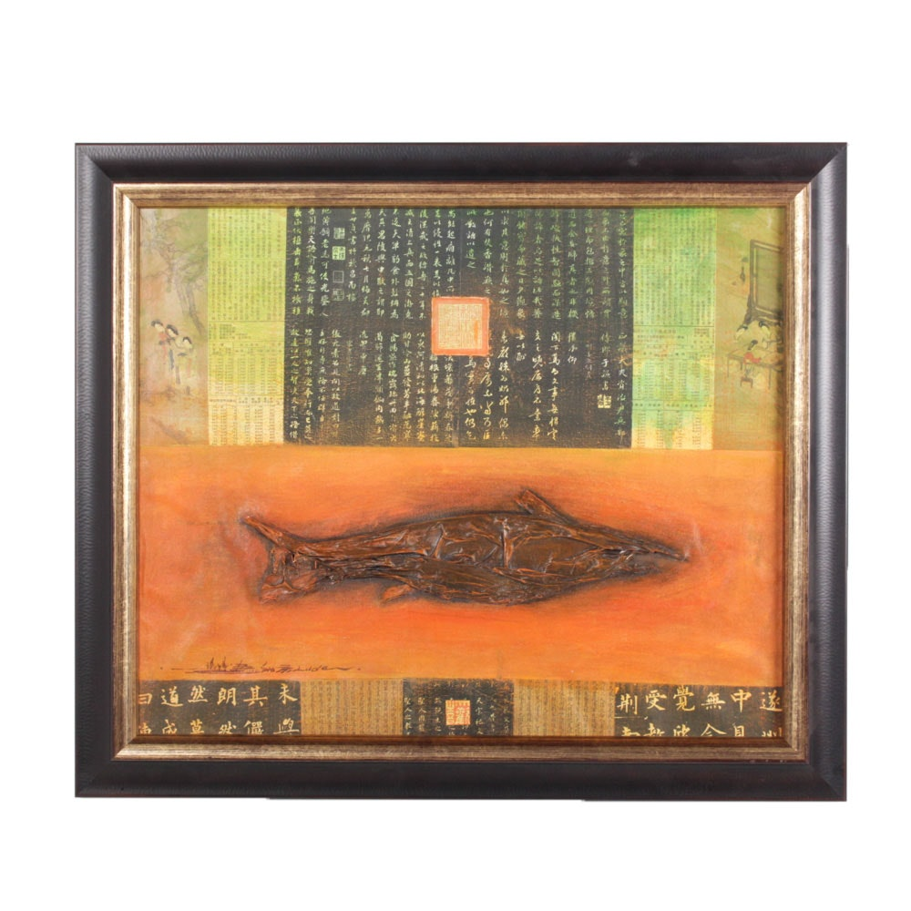 Luden Mixed Media Fish and Japanese Text