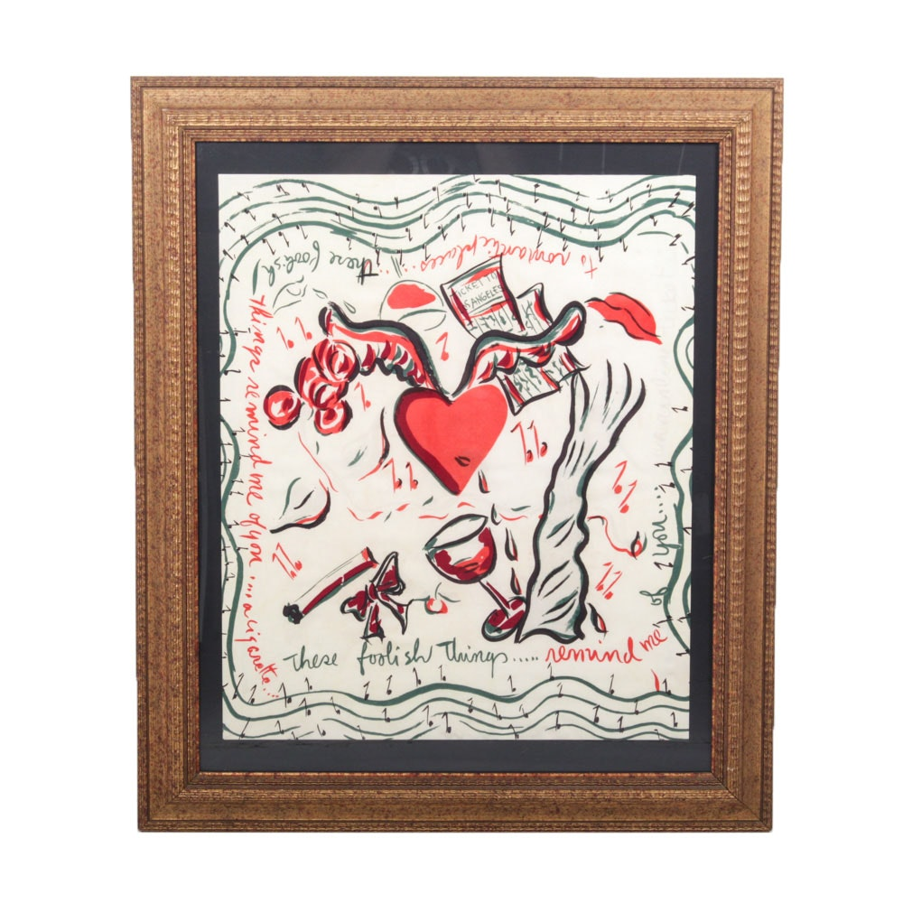 "Framed Vintage ""These Foolish Things"" Silkscreen Scarf"