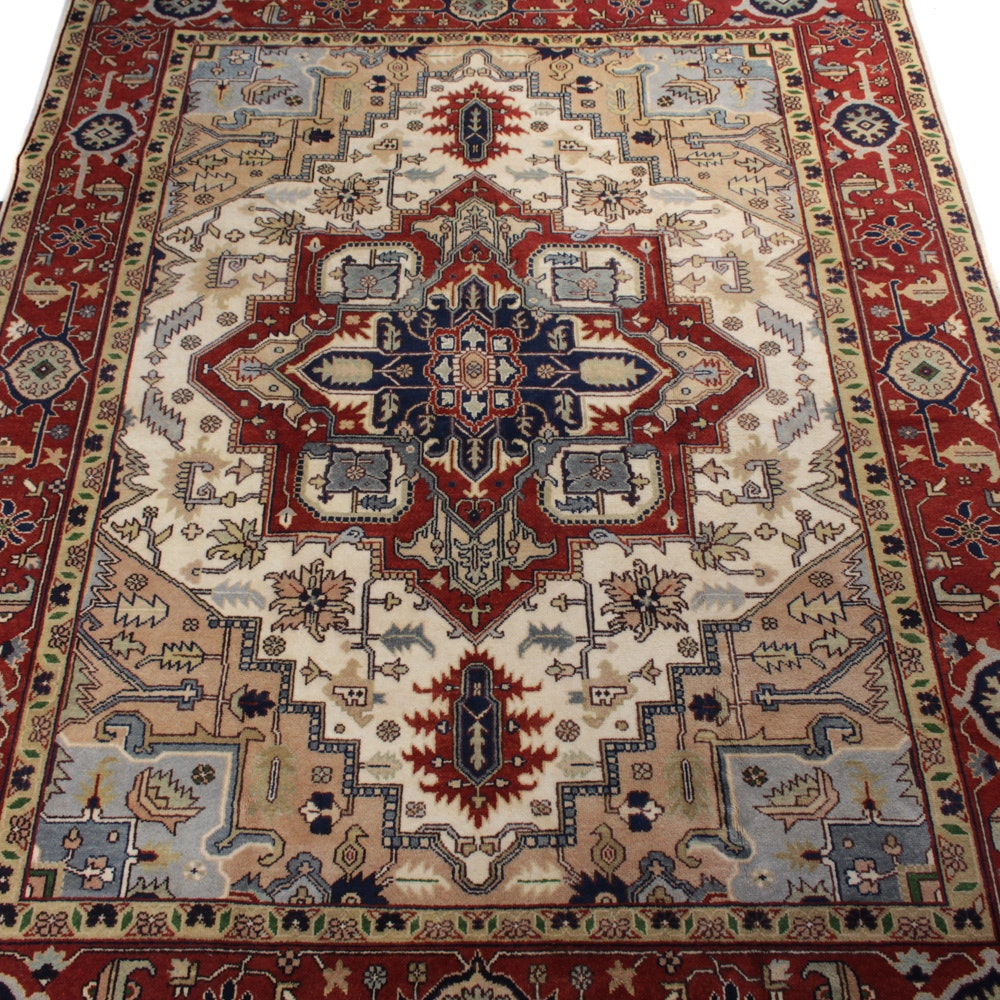 Hand-Knotted Indo-Persian Heriz Room Size Rug