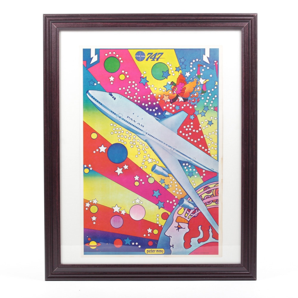 "Vintage Peter Max ""Pan Am"" Offset Lithograph"