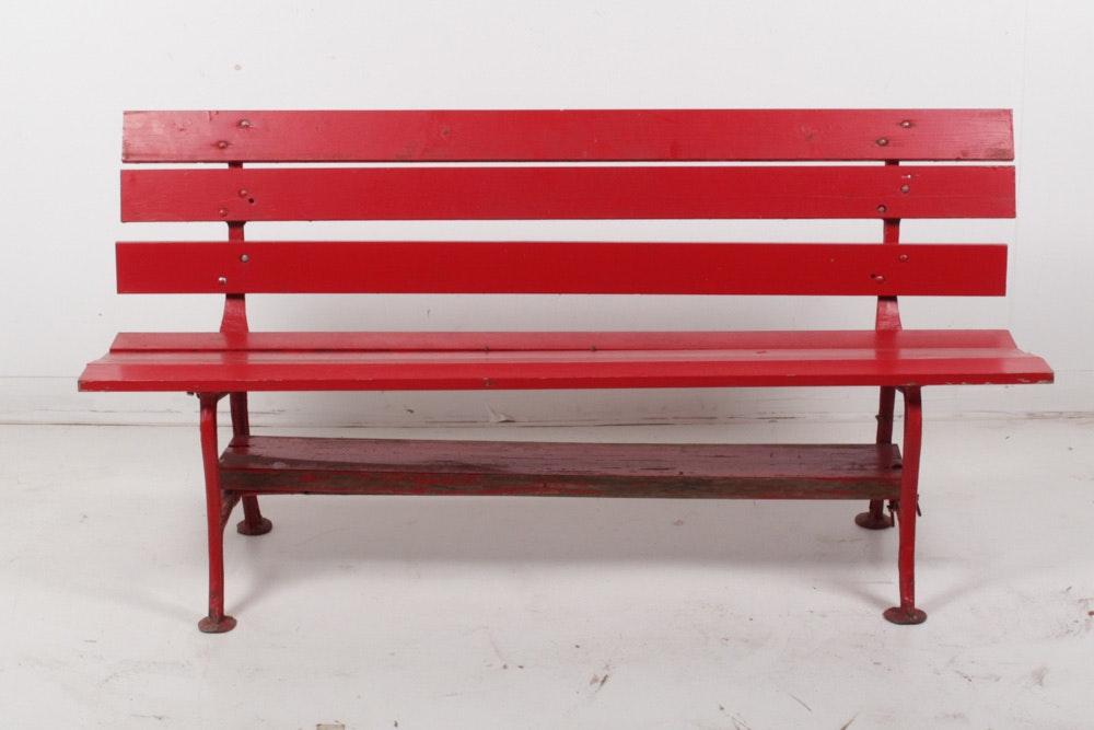 Vintage Red Park Bench