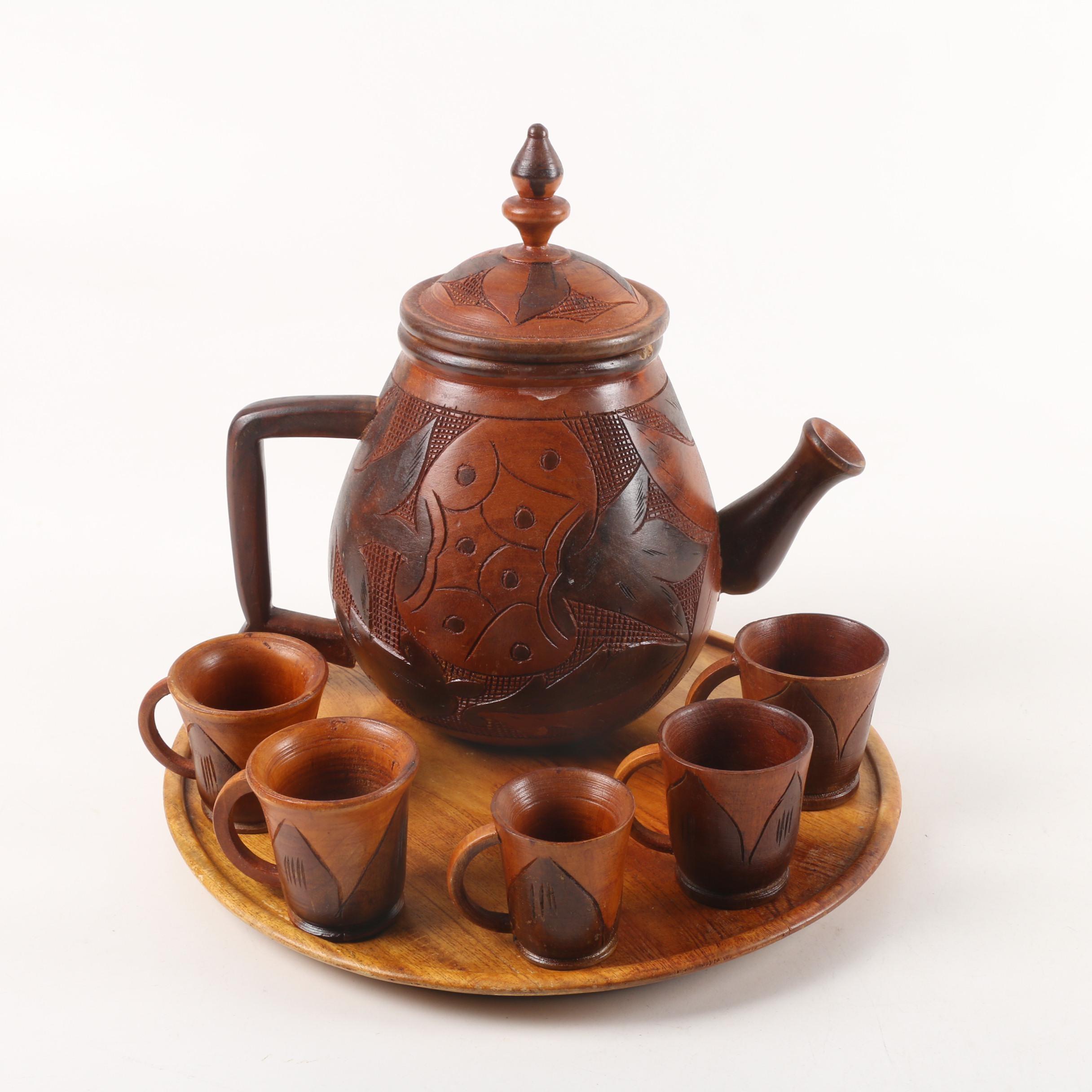 Carved Wood Coffee Set with Fish and Leaf Motif