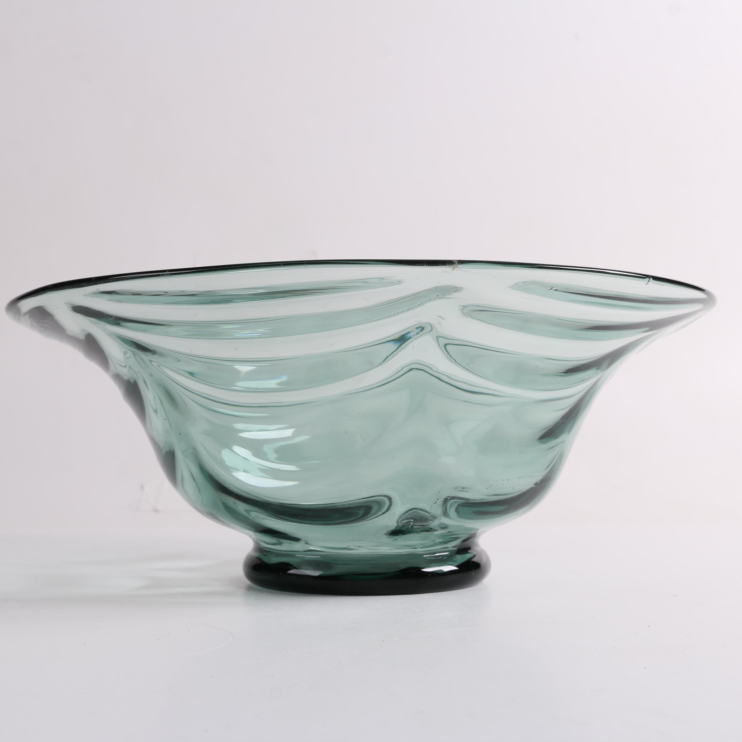 Steuben Draped Optic Blown Glass Bowl in Antique Green