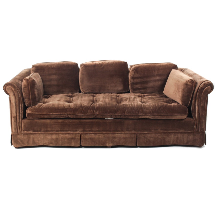 Brown Velour Sofa By Harden Furniture