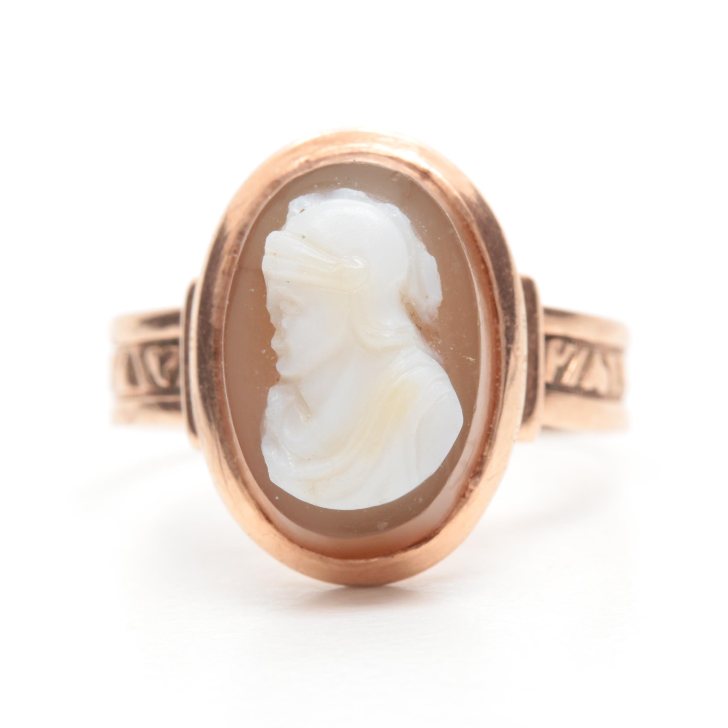 Victorian 10K Rose Gold Sardonyx Cameo Ring