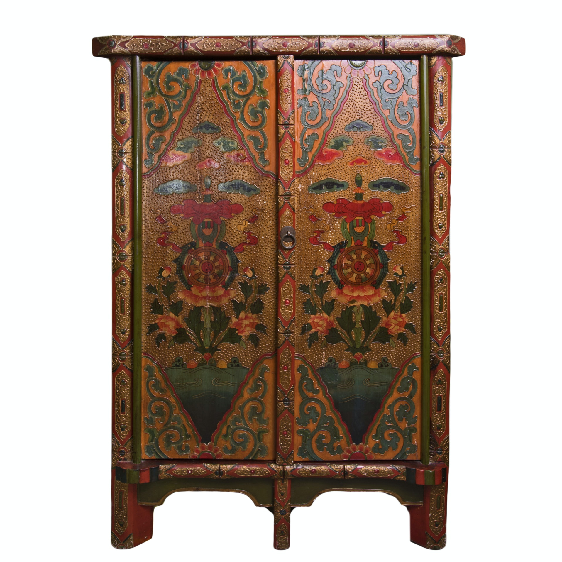 Tibetan Style Painted Corner Cabinet