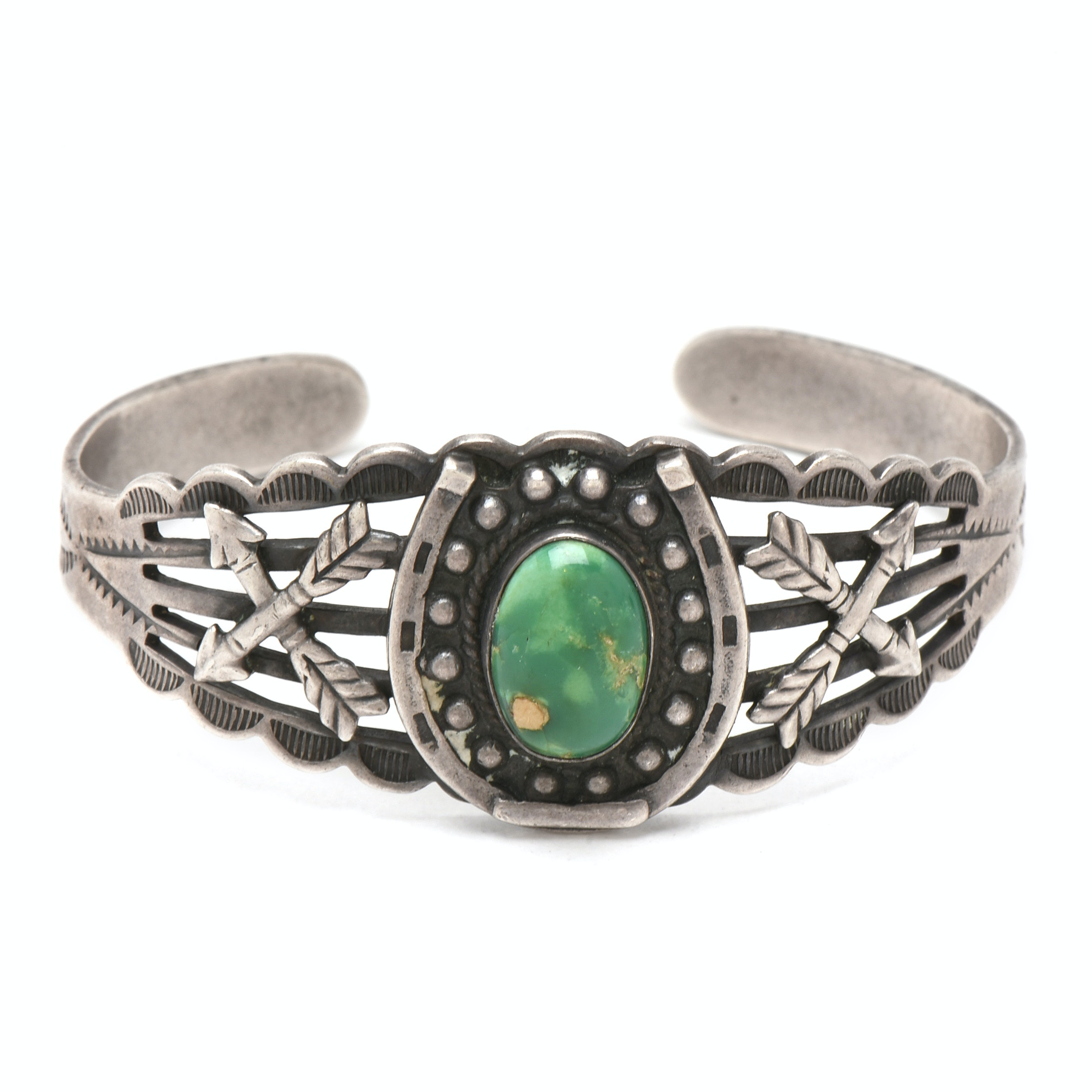 Maisler's Trading Post Sterling Silver Green Turquoise Cuff Bracelet