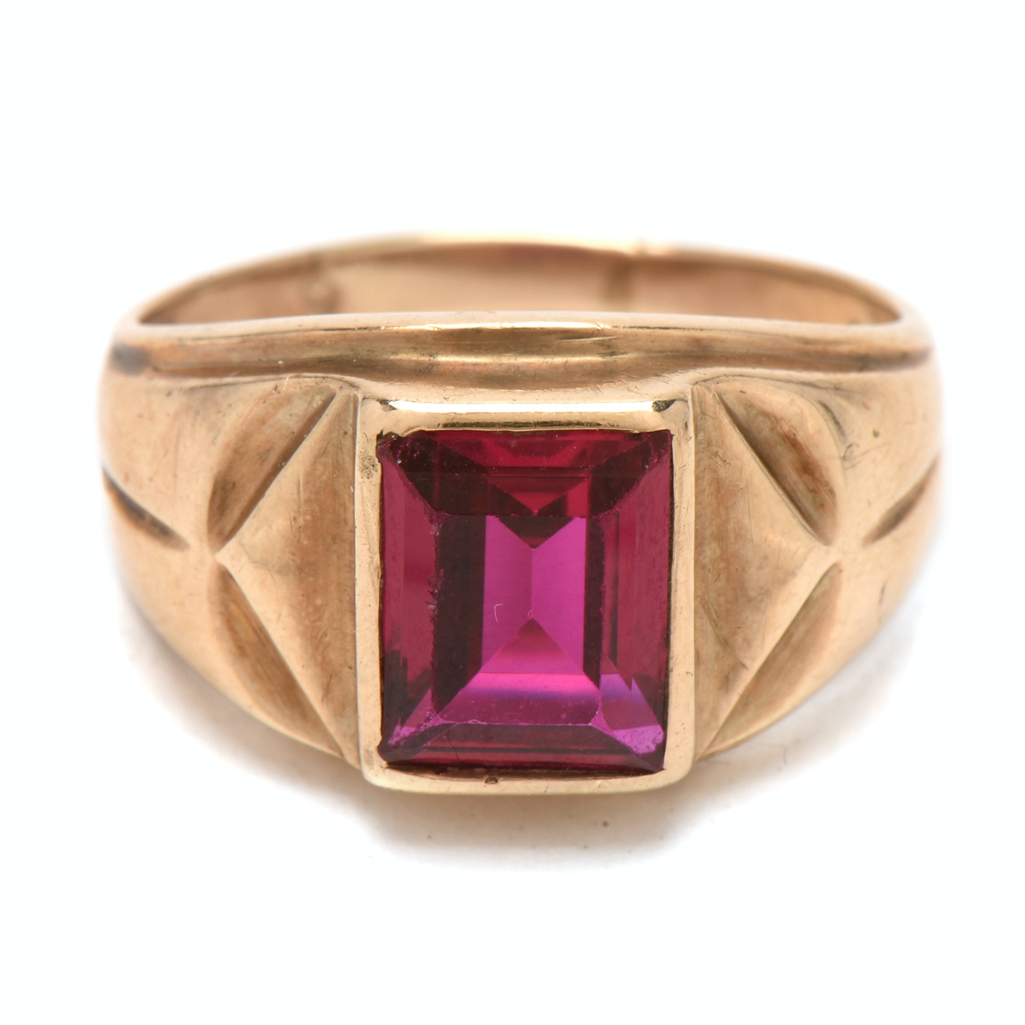 Vintage 10K Yellow Gold Synthetic Ruby Ring