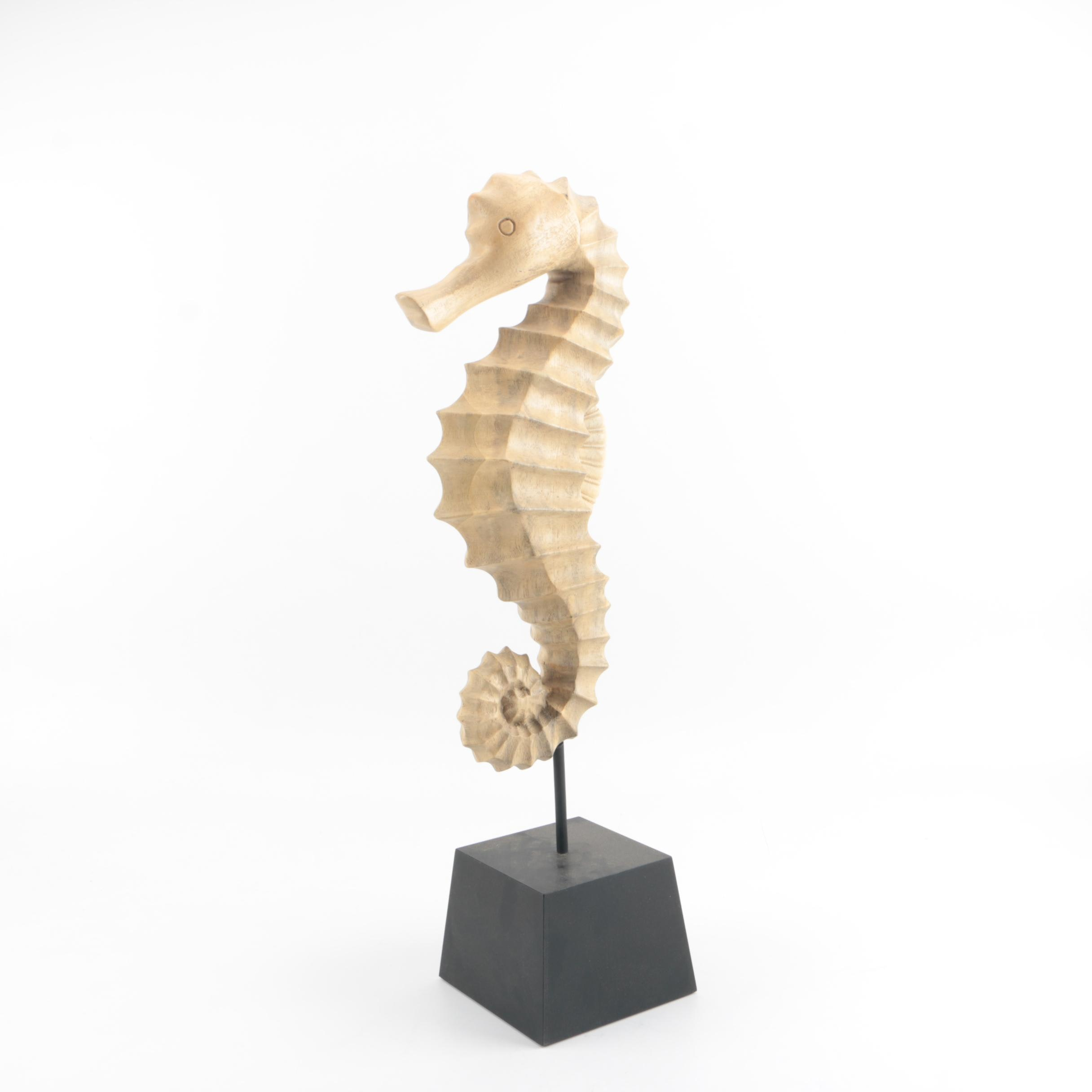 Large Carved Wood Seahorse Sculpture on Display Stand