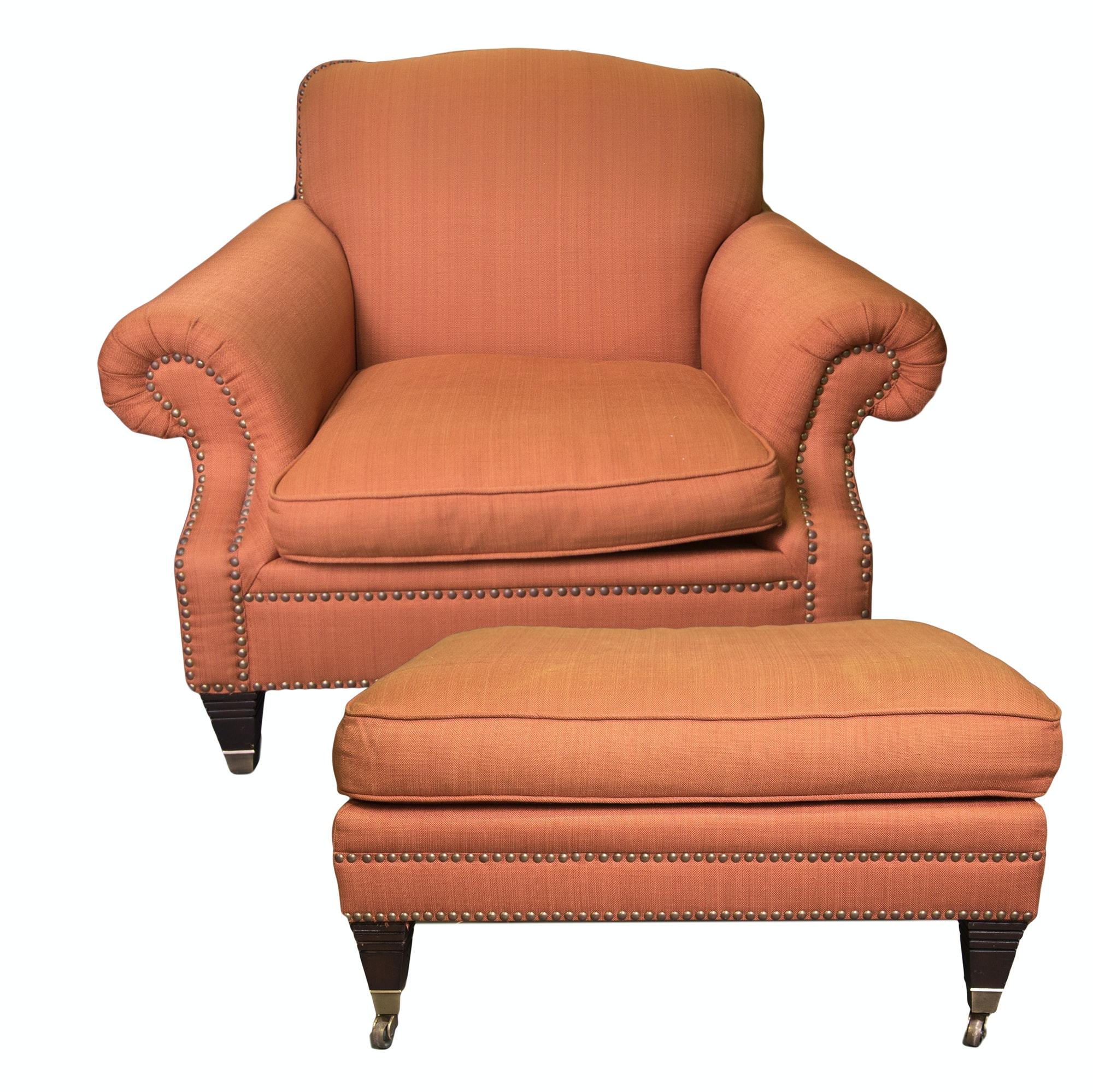 Burnt Orange Arm Chair and Ottoman