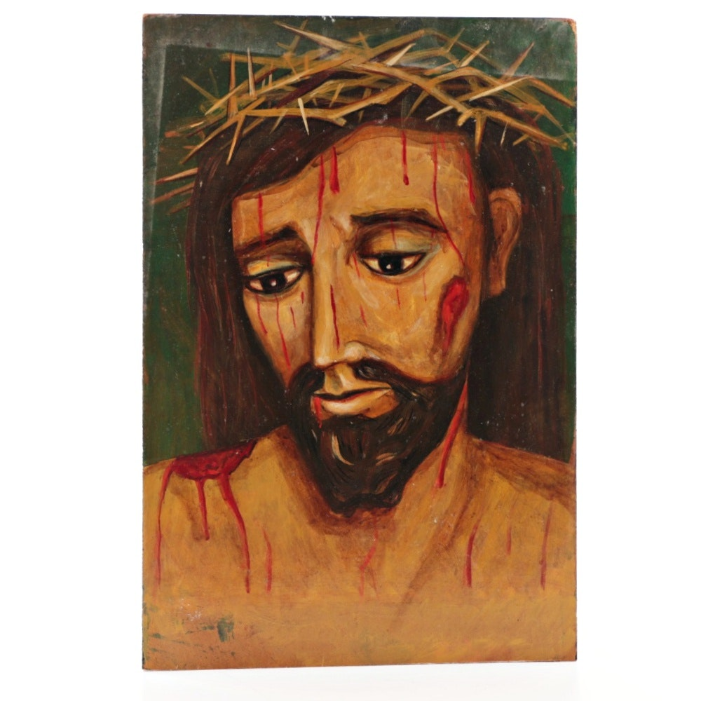 1992 Signed Oil Painting on Panel of the Suffering Christ