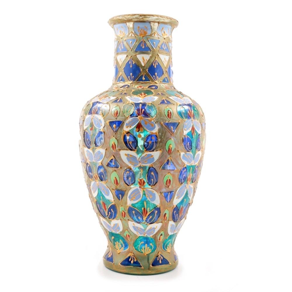 Italian Enameled Art Glass Vase, Signed