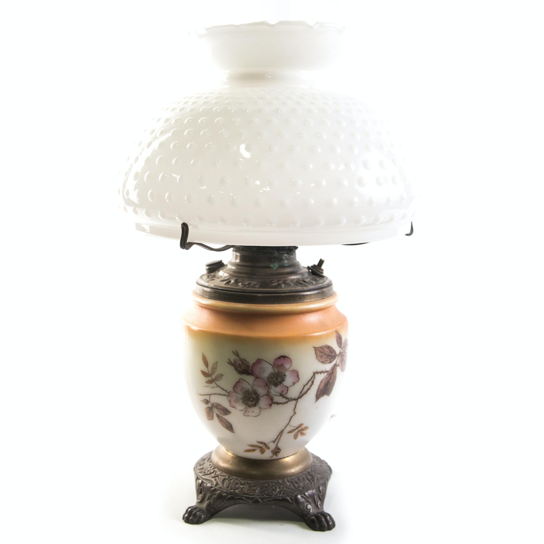 Vintage Converted Electrified Kerosene Parlor Lamp