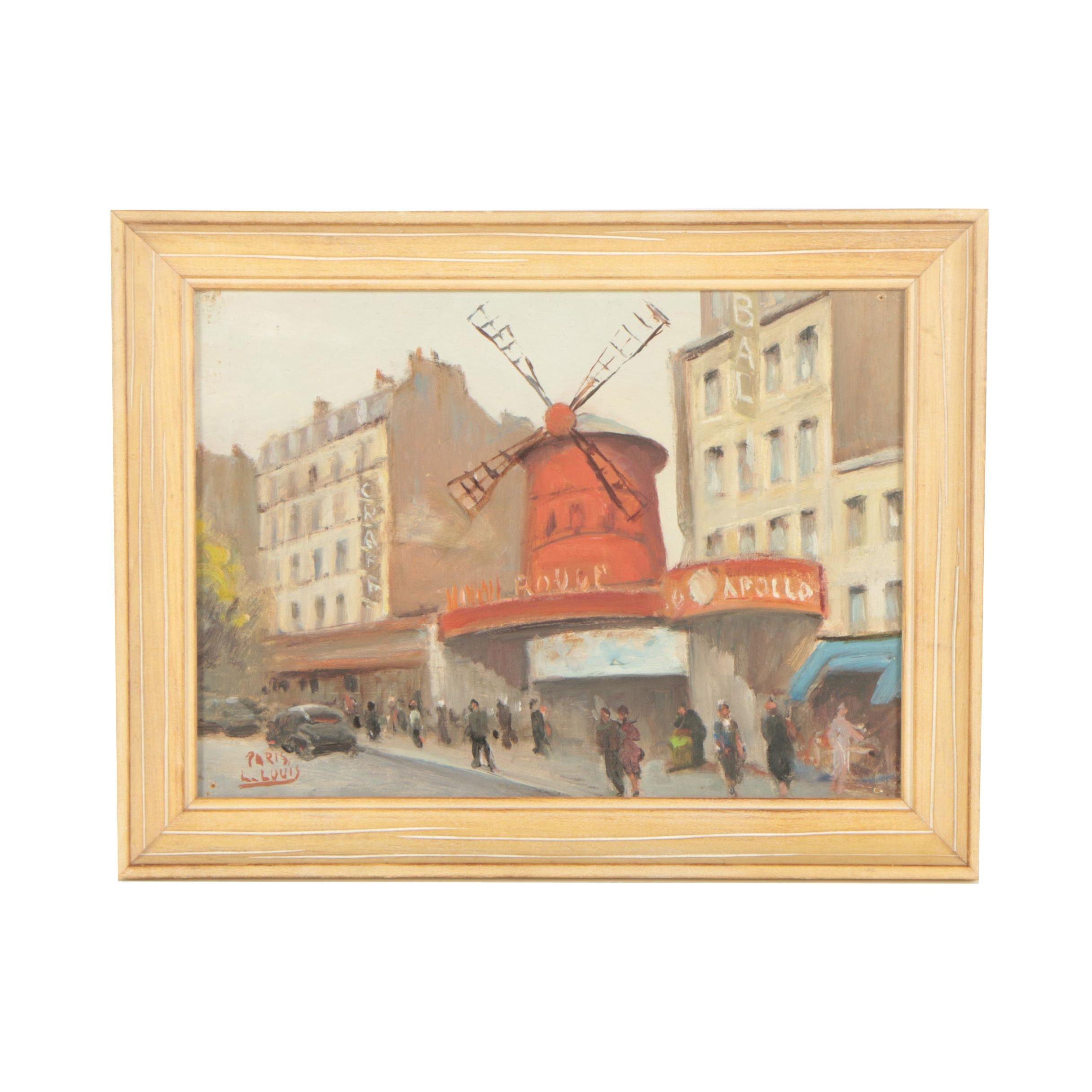 """L. Louis Oil Painting of the Moulin Rouge """"Paris"""""""