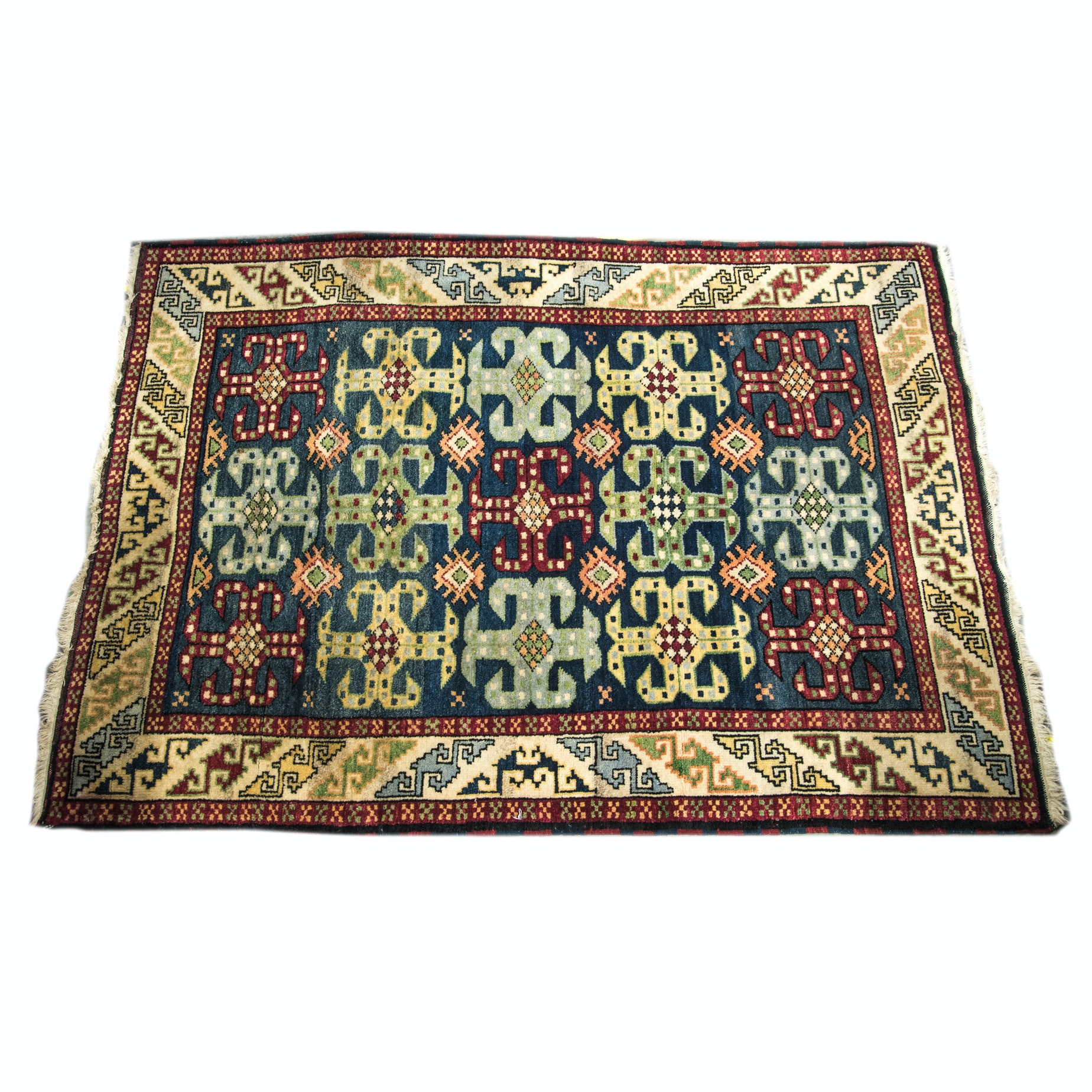 Hand-Knotted Caucasian-Style Wool Accent Rug