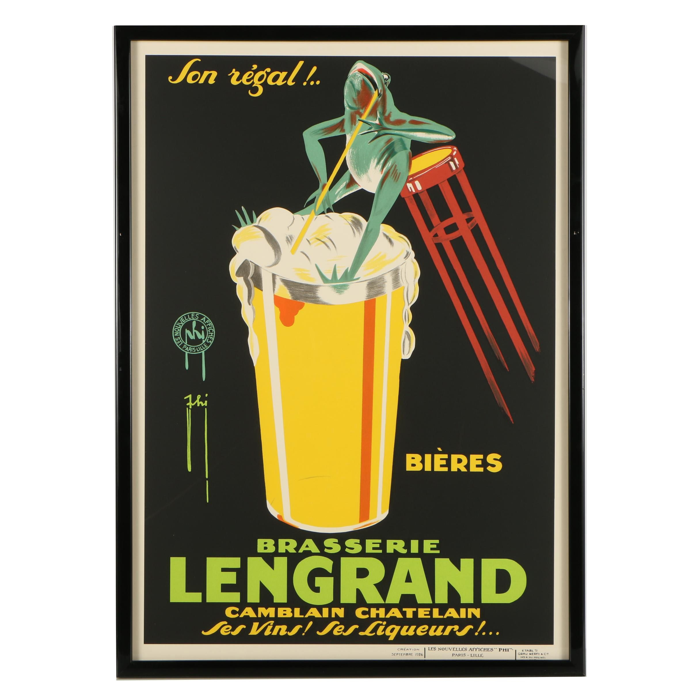 "Late 20th to 21st Century Seriolithograph ""Brasserie Lengrand"""