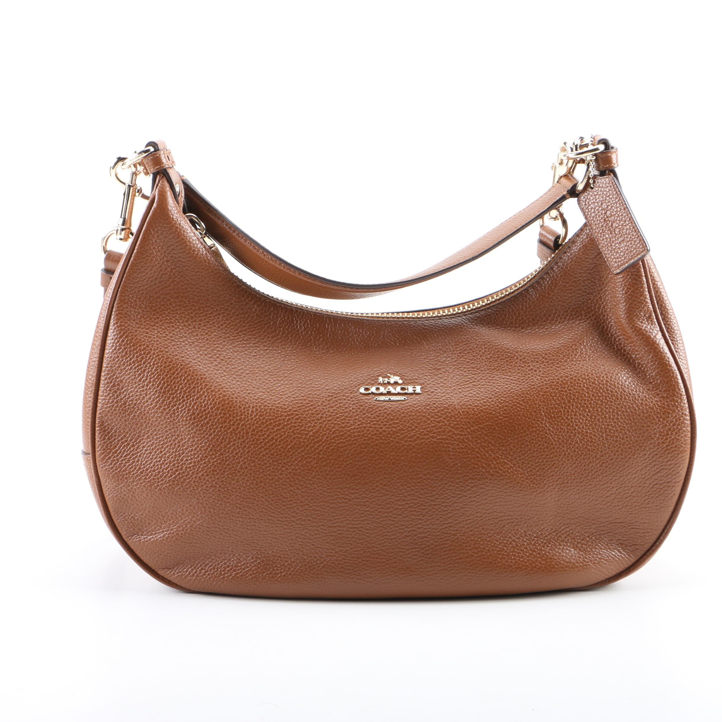 Coach Harley East West Pebbled Brown Leather Hobo Bag