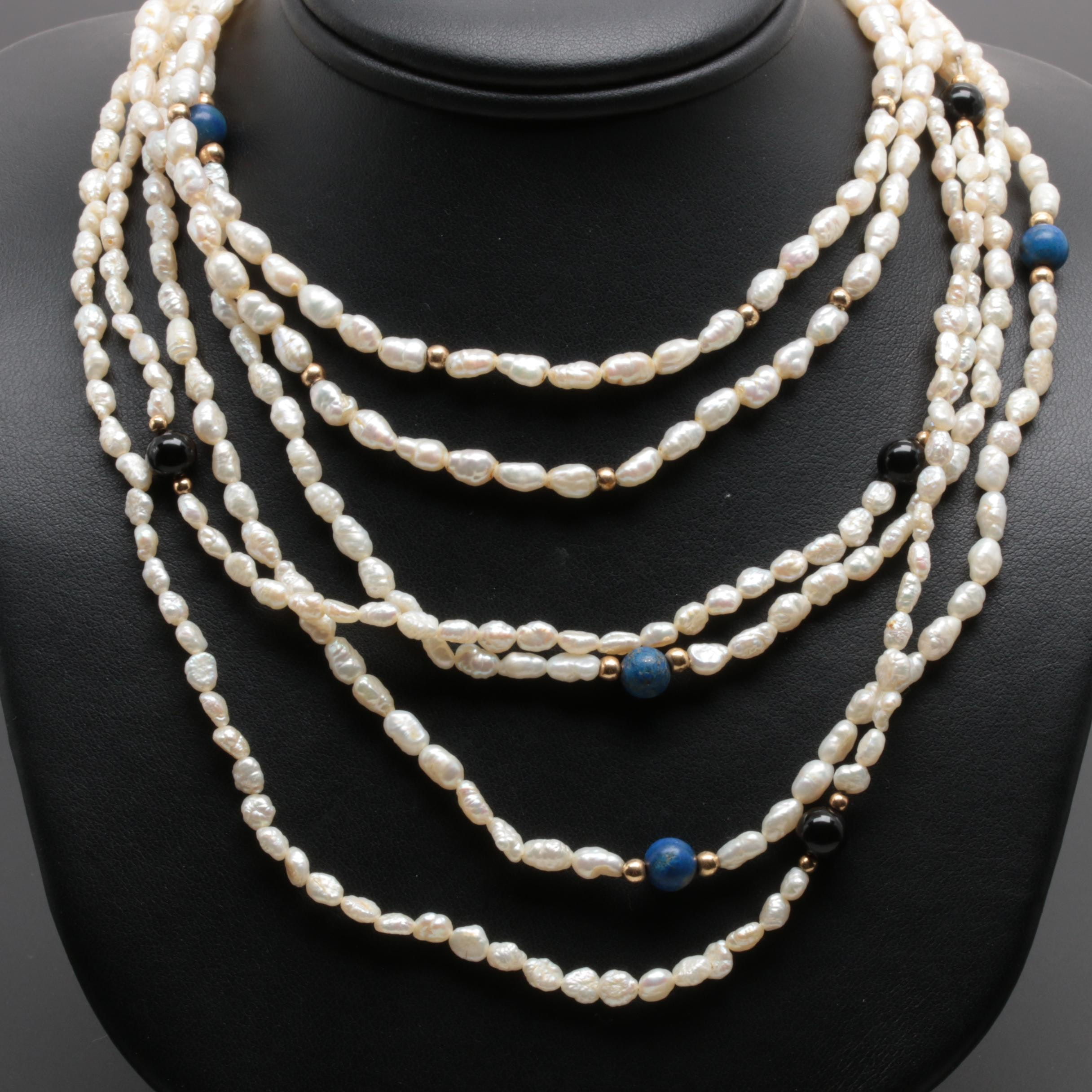 14K Yellow Gold Lapis Lazuli, Black Onyx, and Cultured Pearl Necklaces