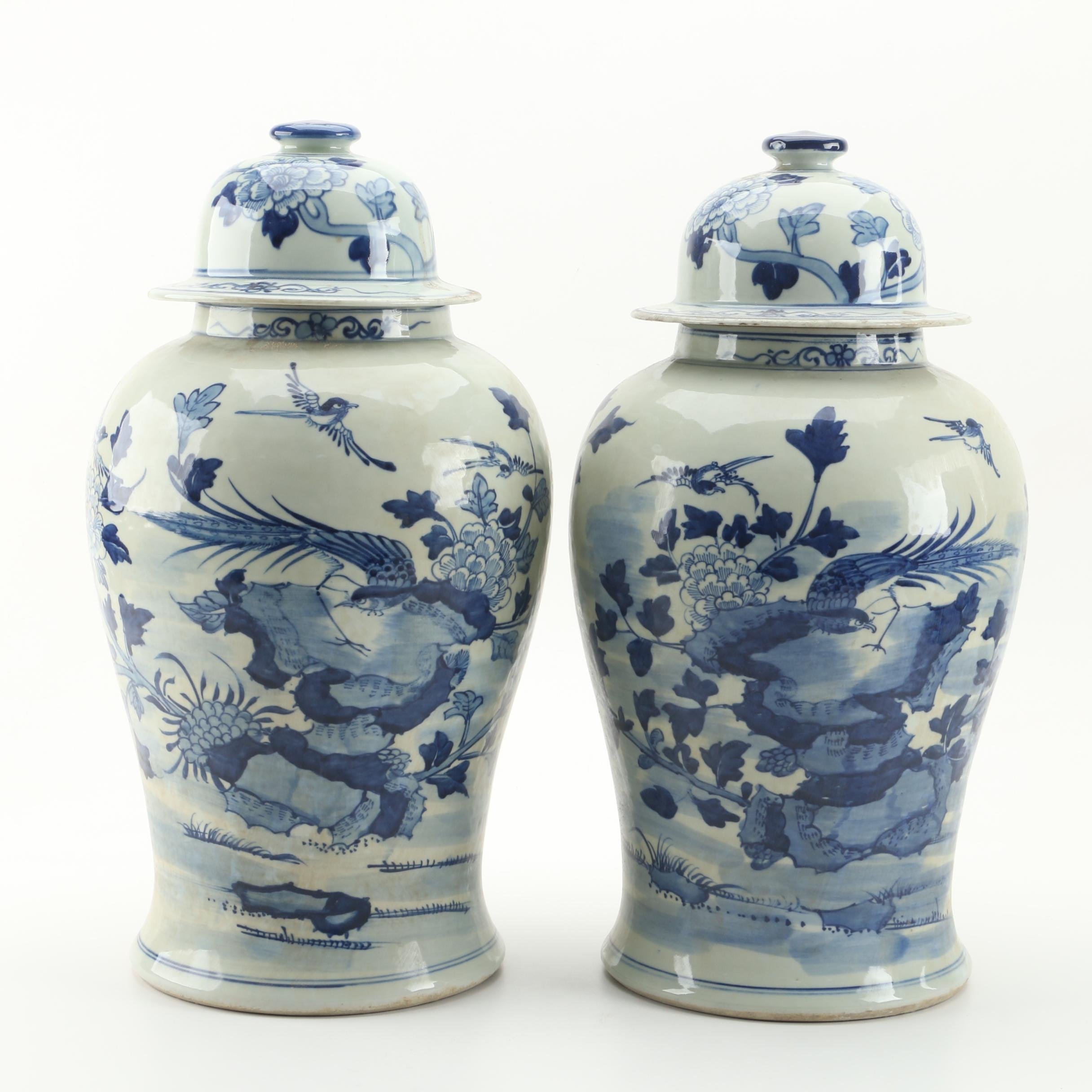 Chinese Influenced Hand-Painted Blue and White Floral and Fauna Ginger Jars