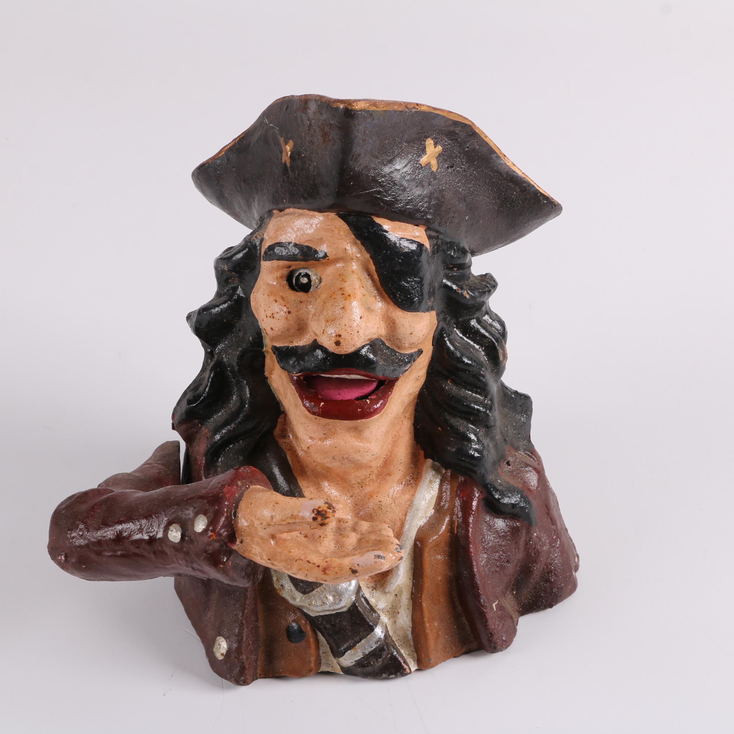 Cast Iron Mechanical Pirate Coin Bank
