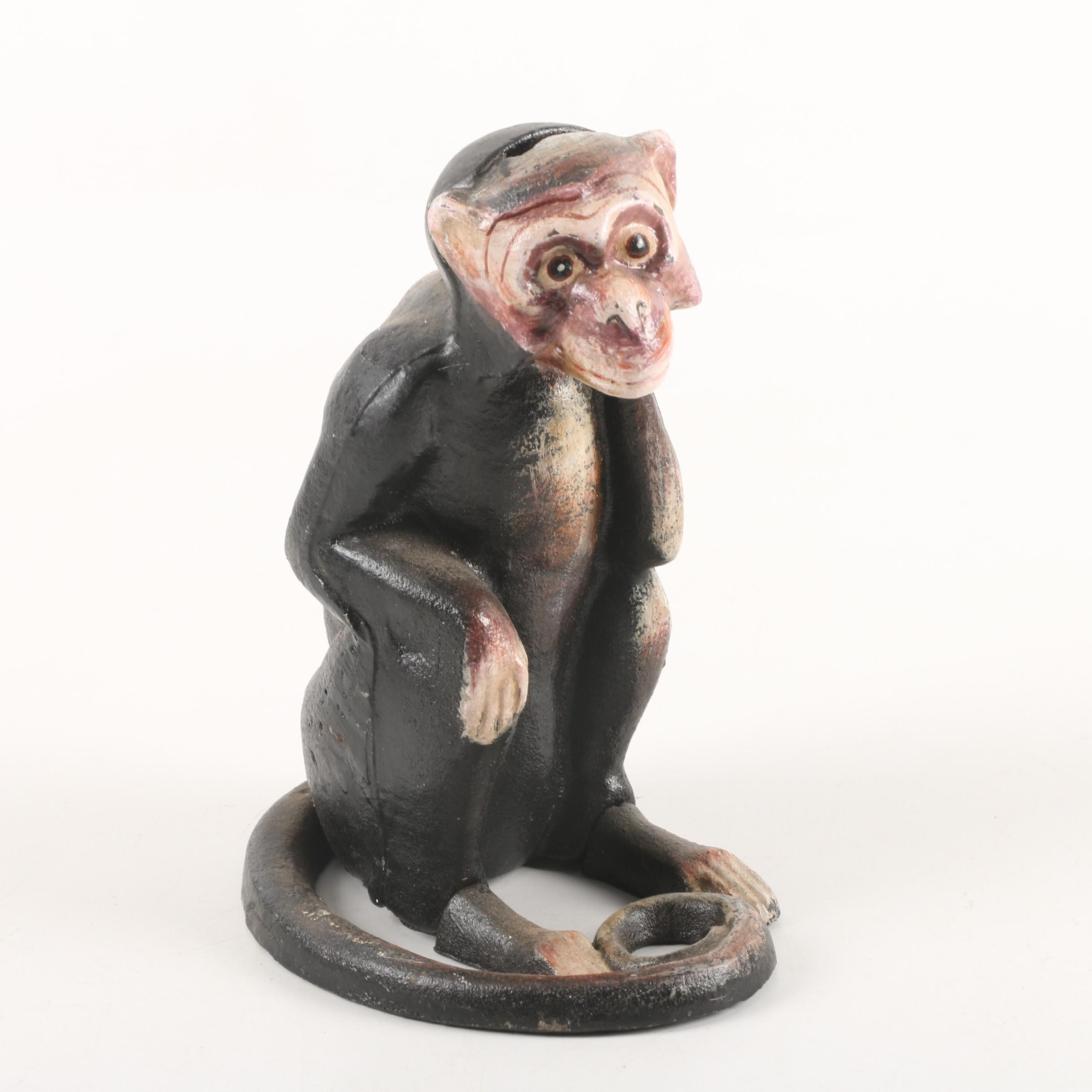 Cast Iron Monkey Coin Bank