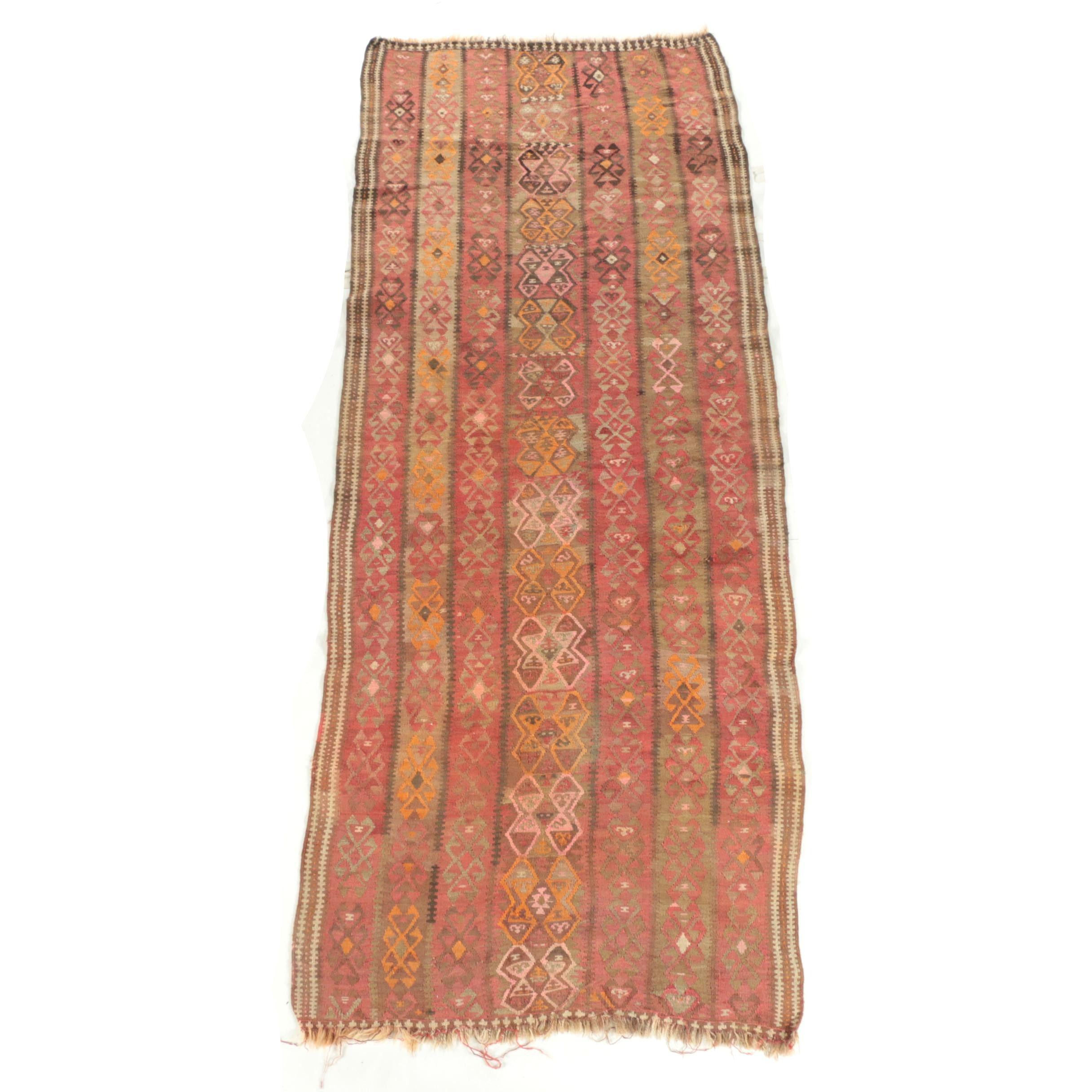 Semi-Antique Handwoven Anatolian Wool Kilim Long Rug