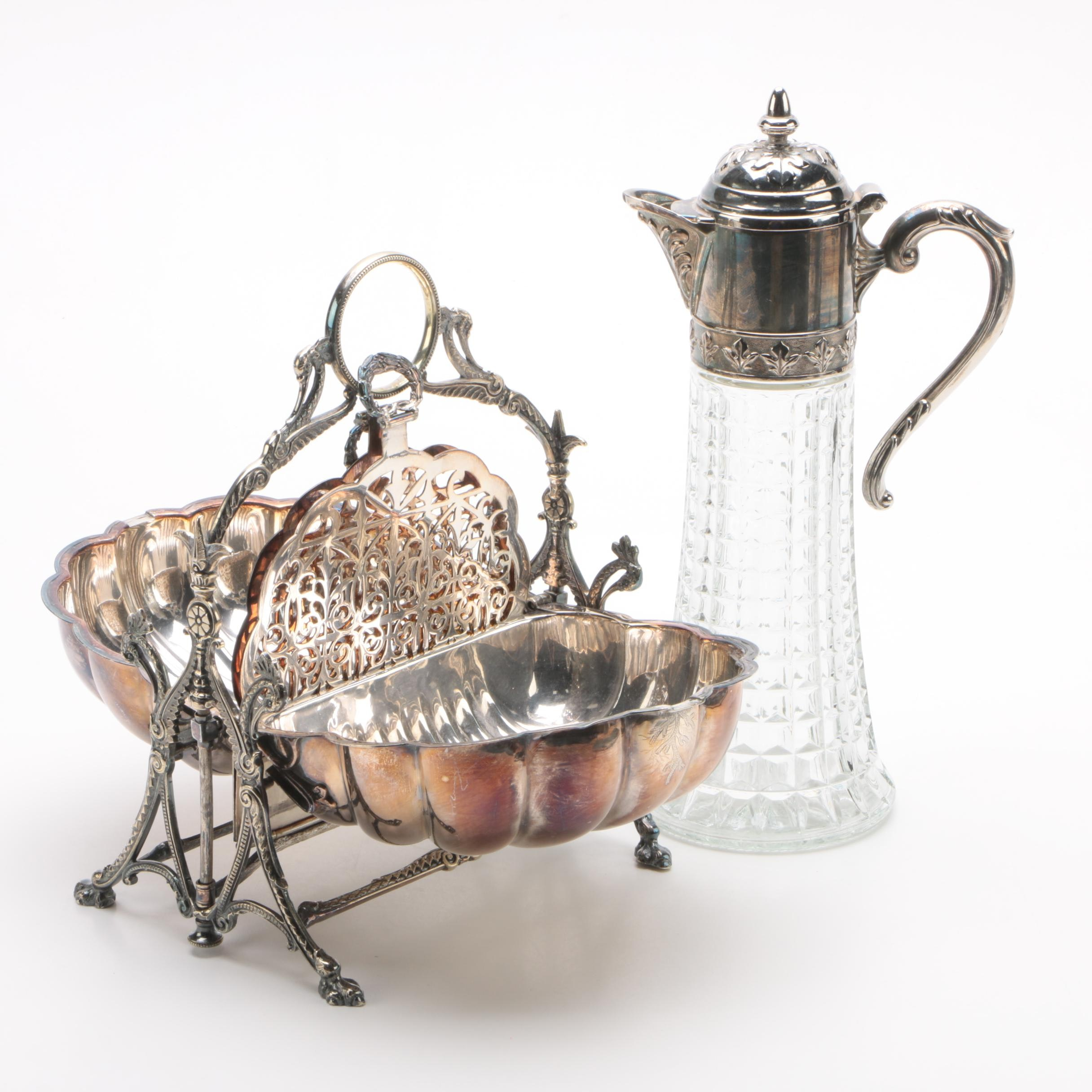 1877 Fenton Brother English Silver Plate Bun Warmer with Claret Wine Decanter