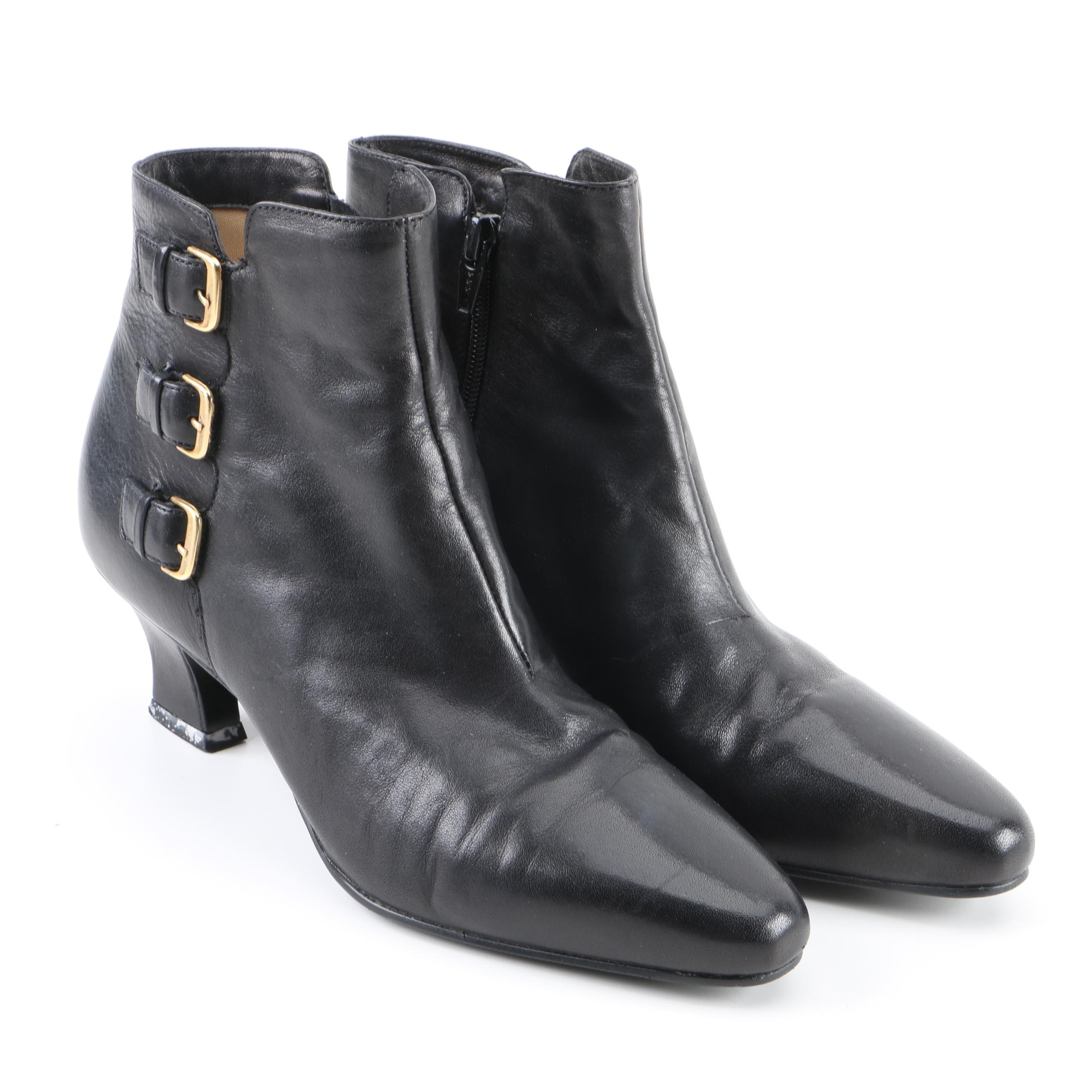 Enzo Angiolini Black Leather Booties with Gold Tone Buckle Accents