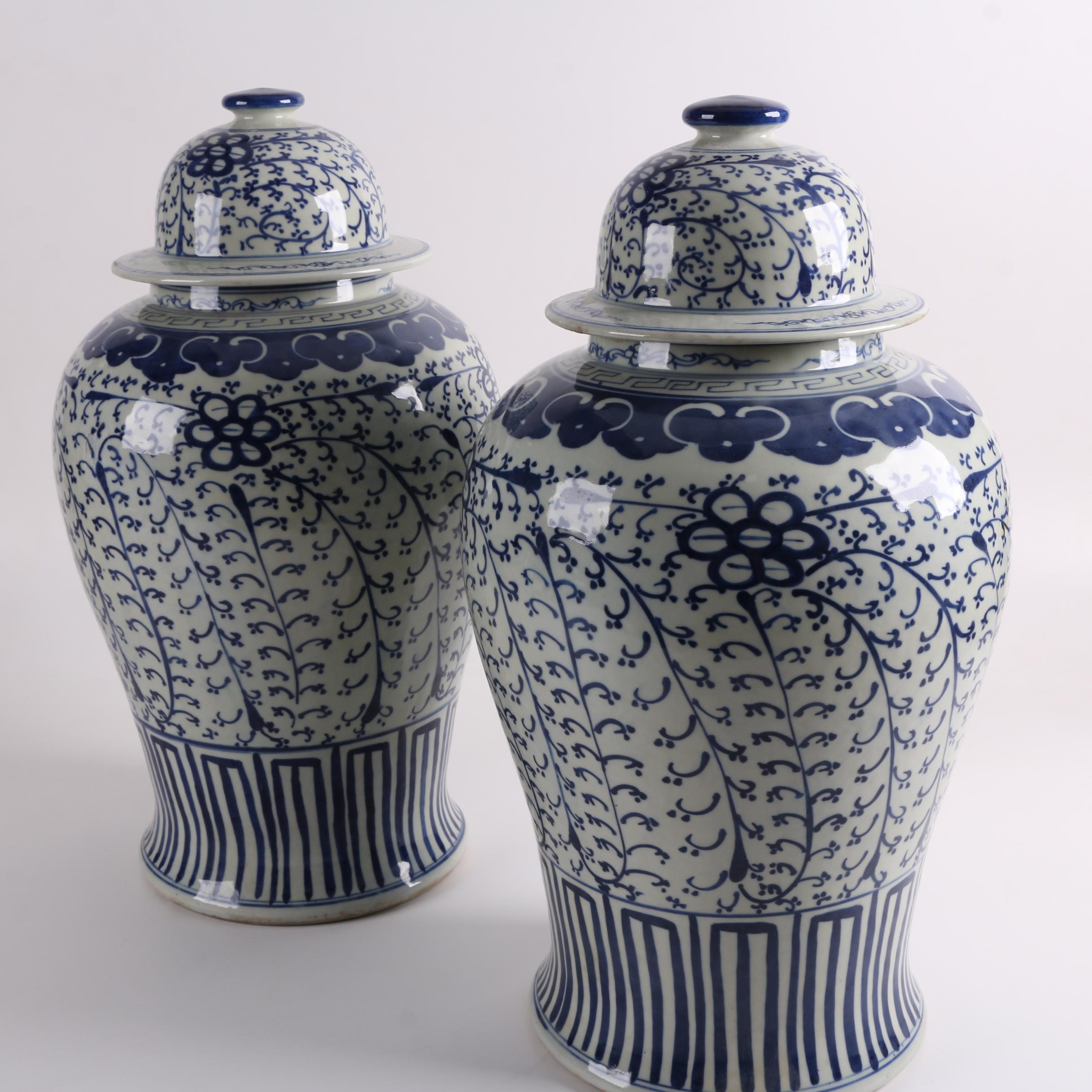 Chinese Blue and White Porcelain Ginger Jars