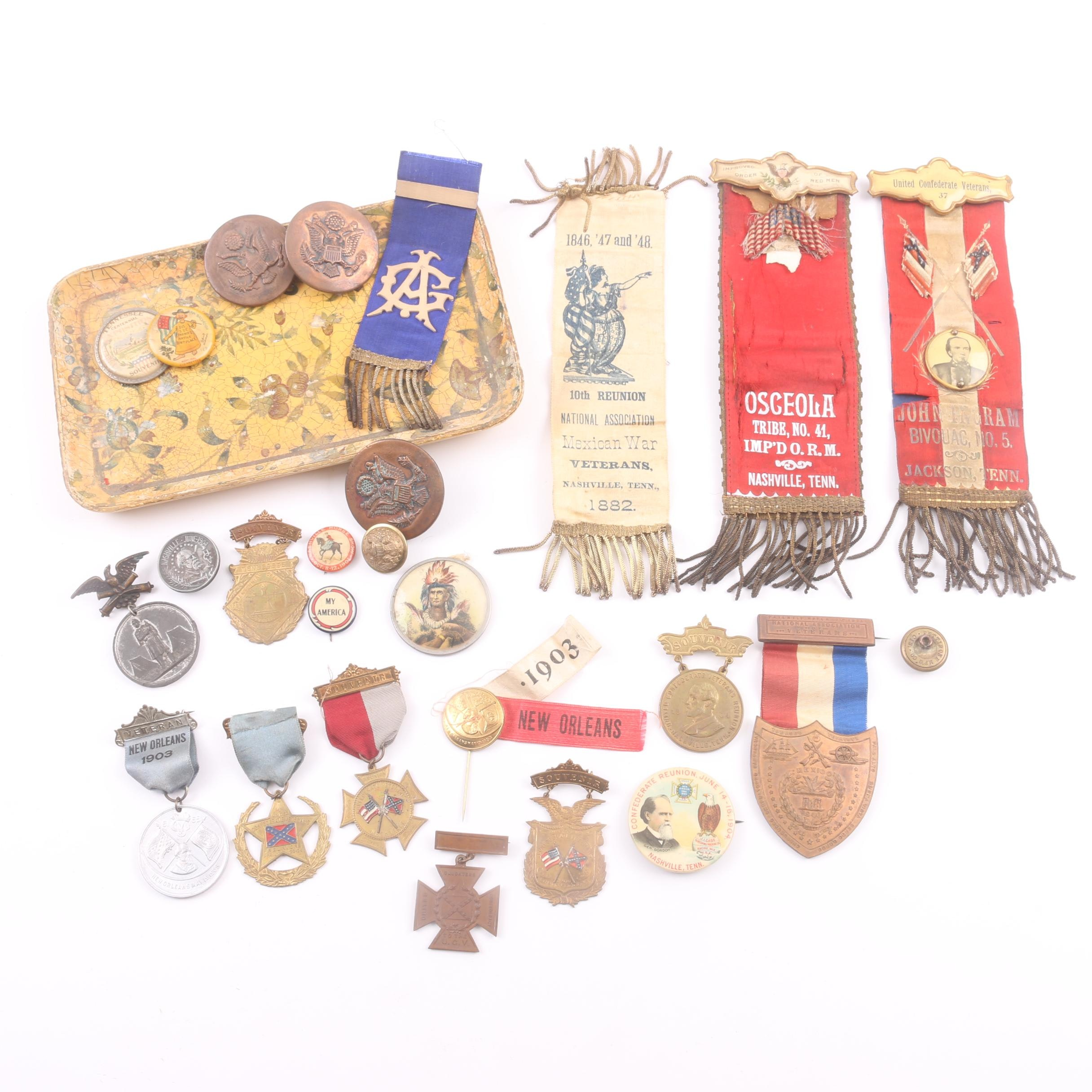 Antique Commemorative Medals, Pins, Badges, Tokens, and More