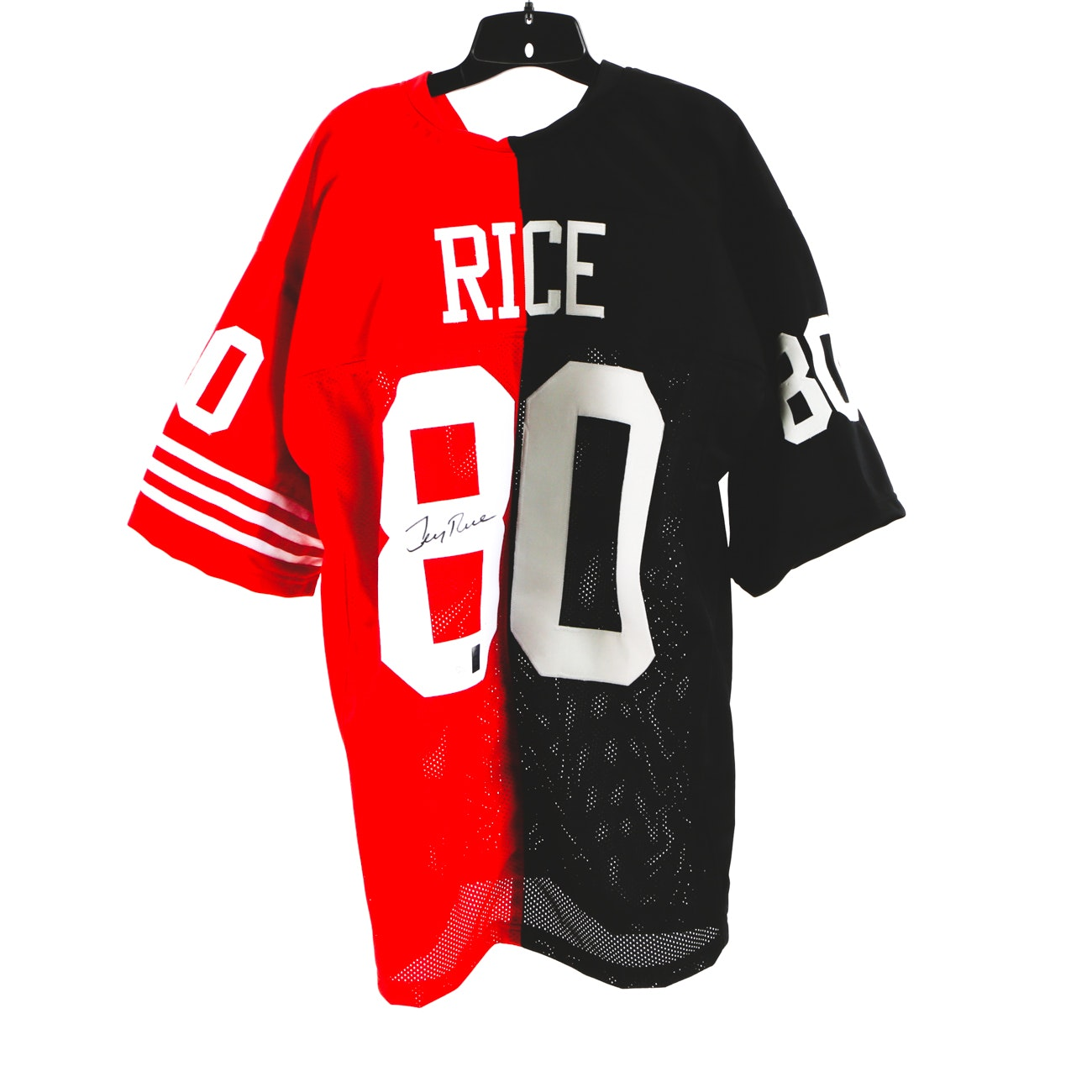 Jerry Rice Signed Two Team Jersey  COA