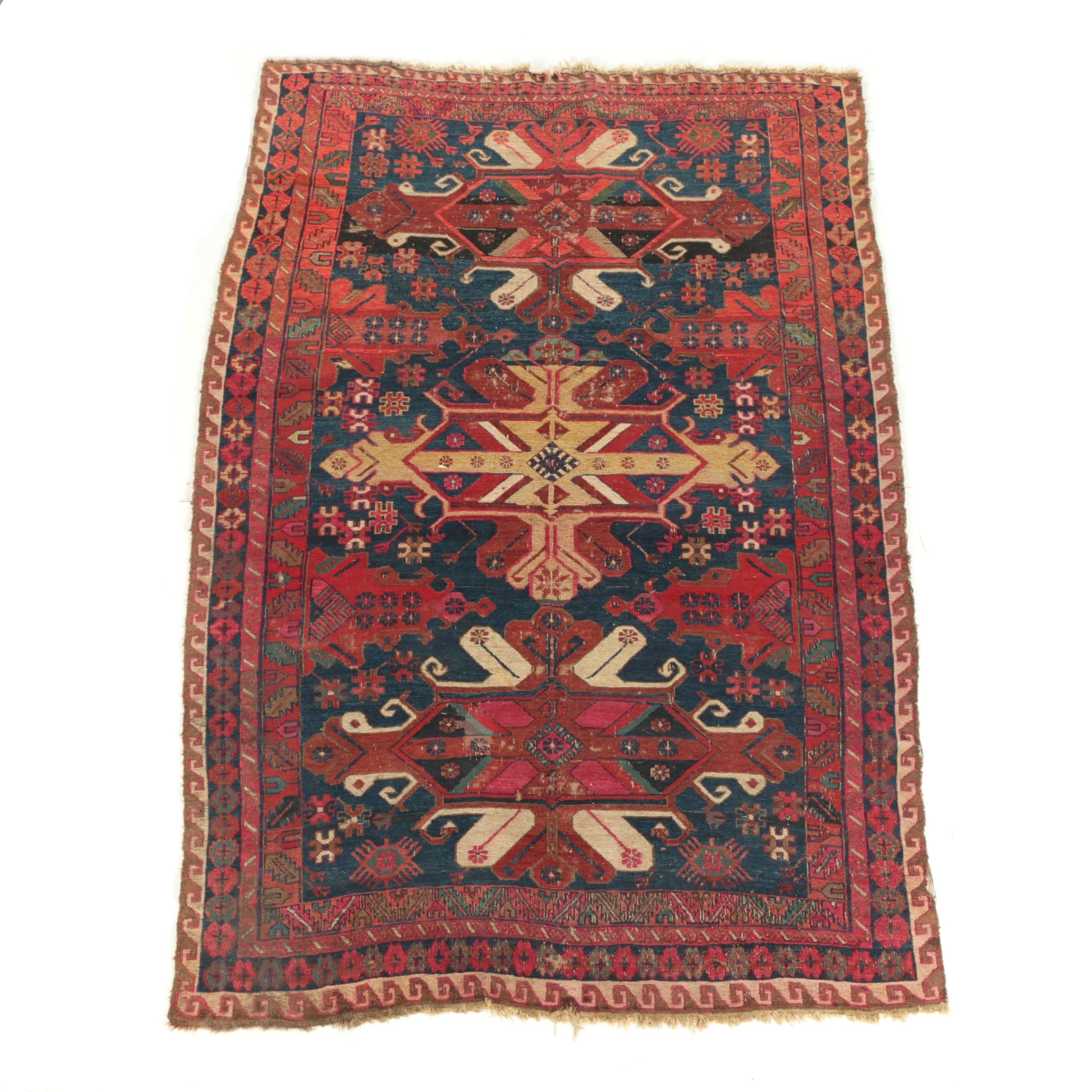 Semi-Antique Handwoven Caucasian Kurdish Wool Soumak Area Rug