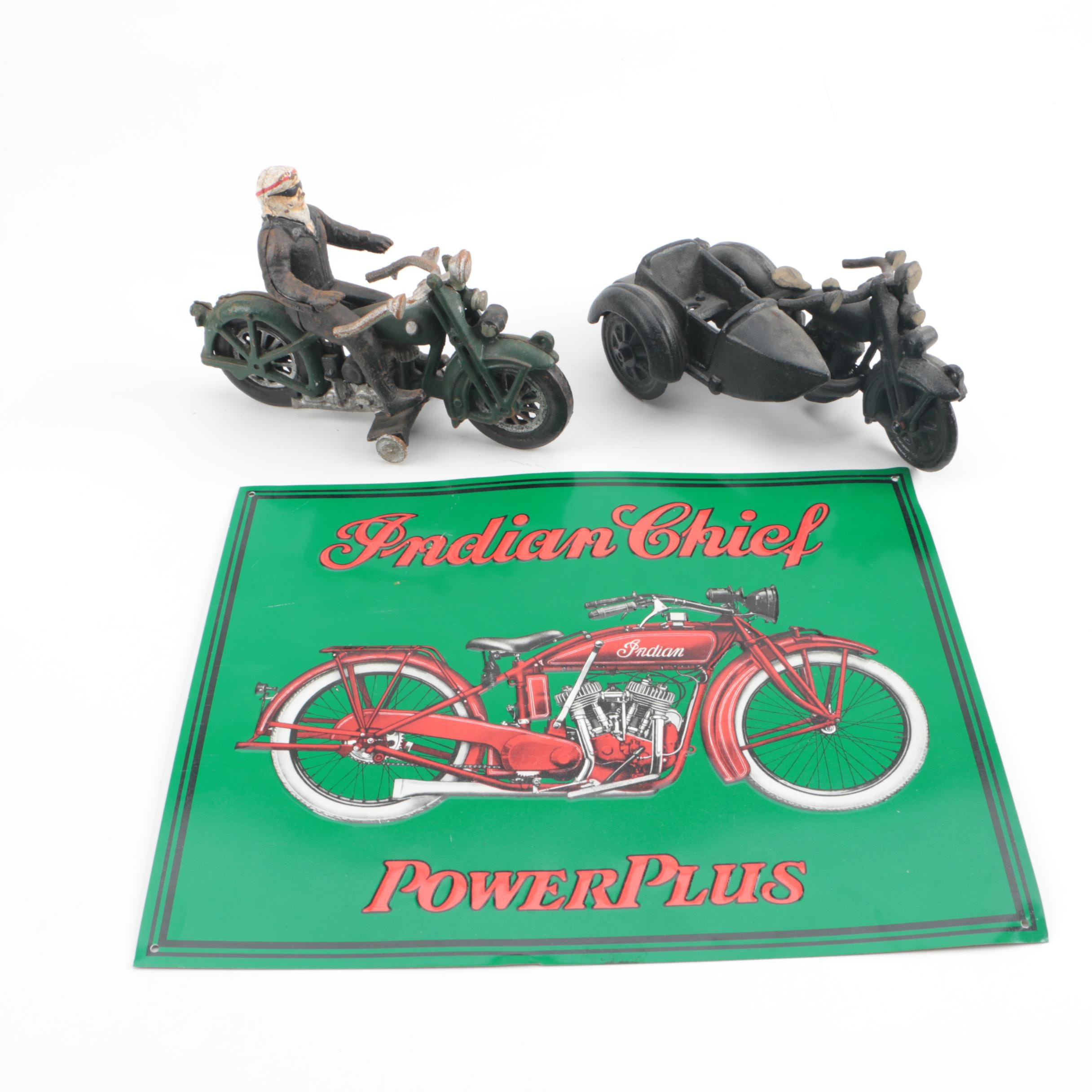 Cast Iron Mortorcycle Figurines and Indian Chief PowerPlus Sign