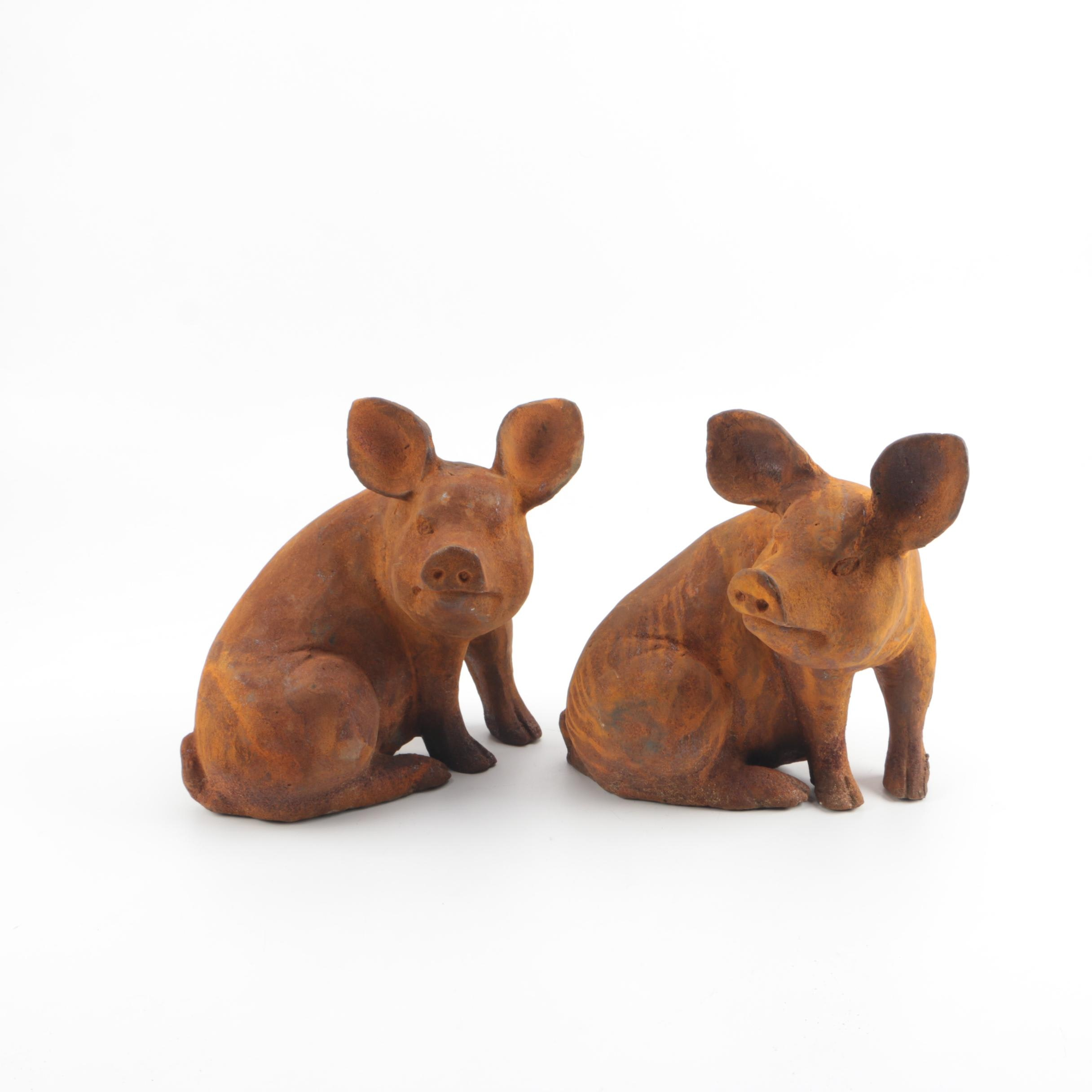 Cast Metal Pig Garden Sculptures