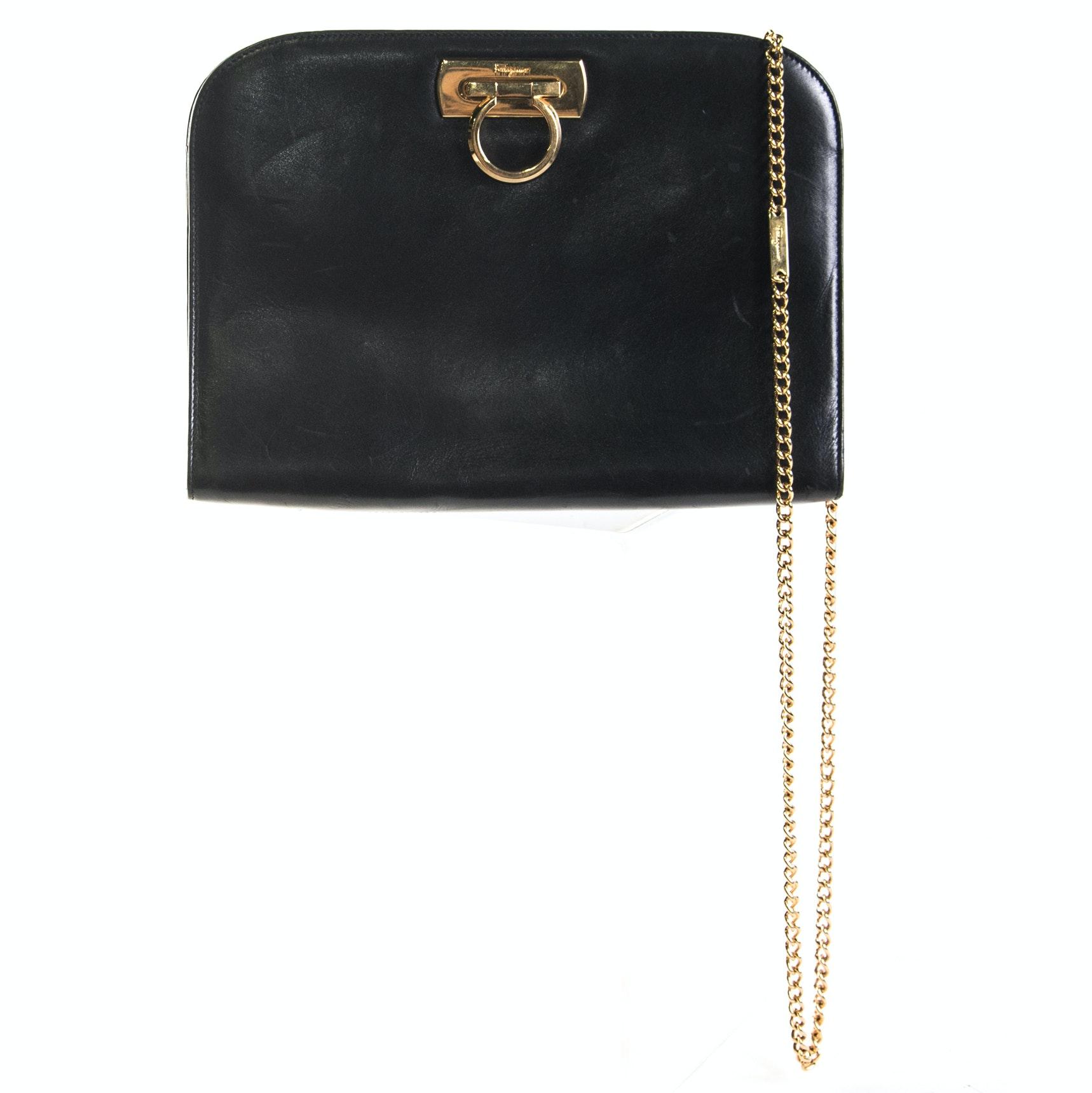 Salvatore Ferragamo Black Calfskin Leather Handbag