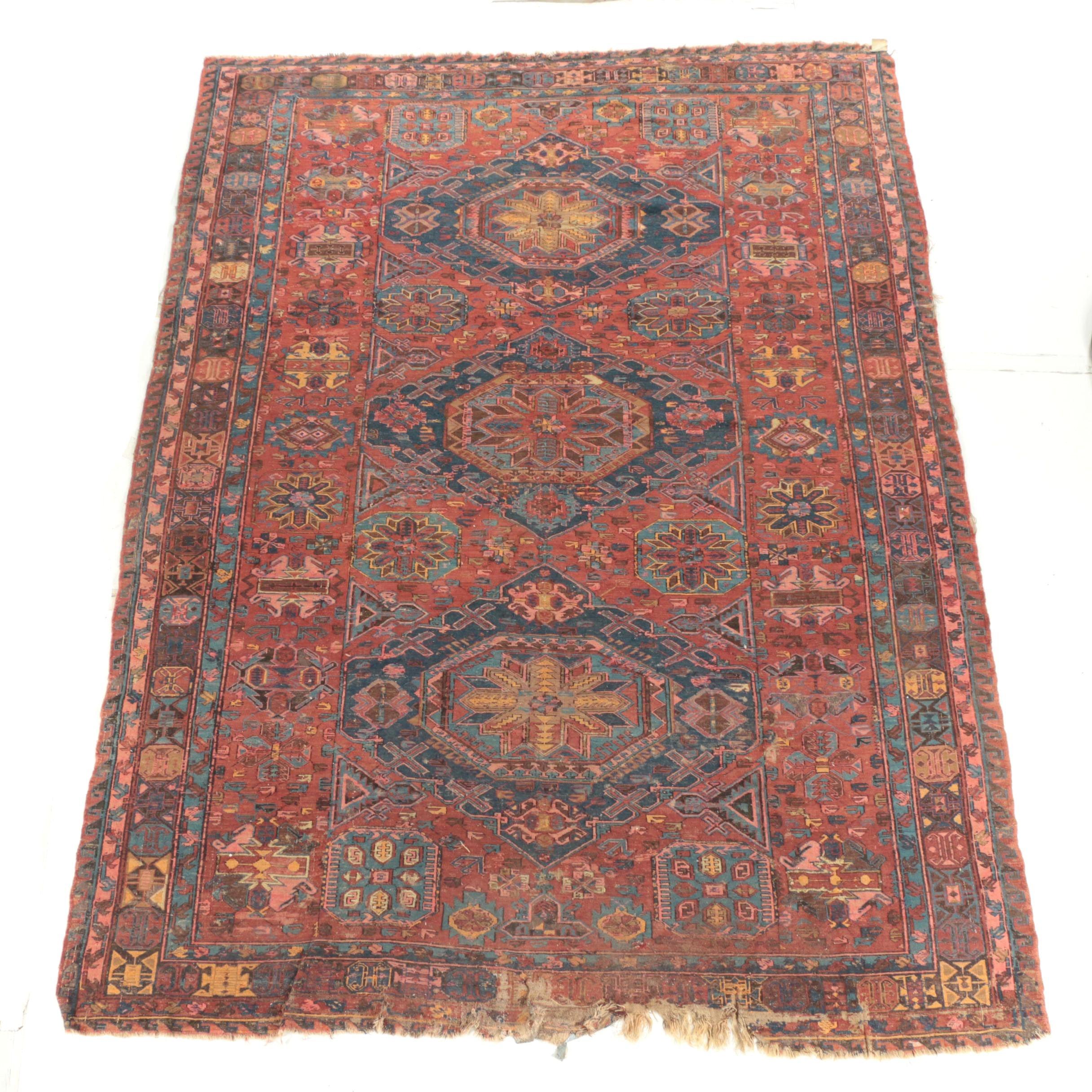 Semi-Antique Handwoven Caucasian Wool Soumak Room Sized Rug
