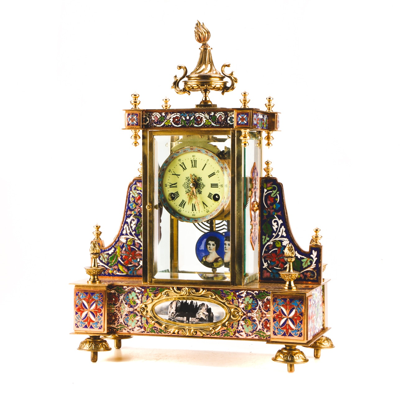 Chinese Champlevé Enamel Mantel Clock