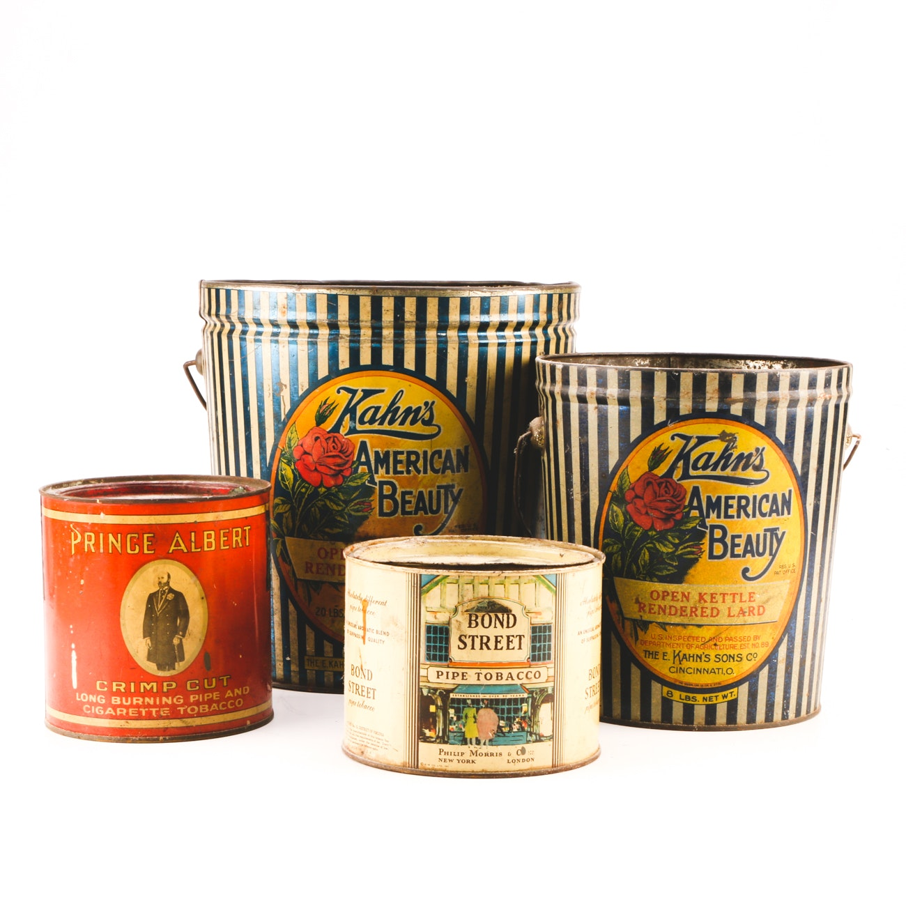 Collection of Four Vintage Lard and Tobacco Tins
