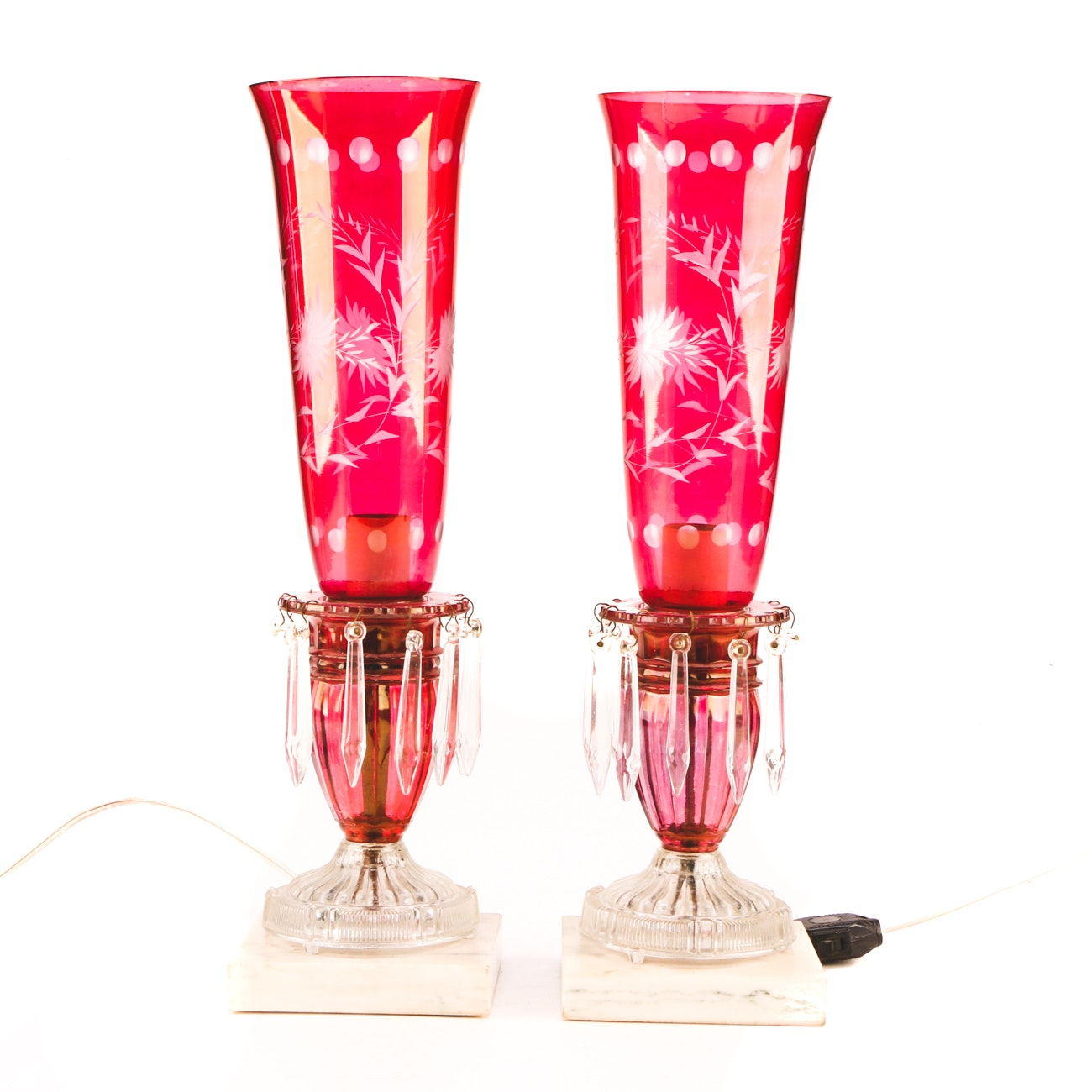 Flashed Cranberry Glass Etched Accent Lamps