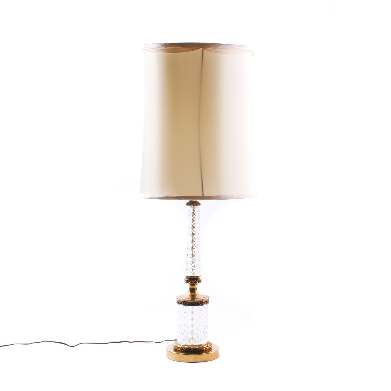 Tall Vintage Glass and Brass Table Lamp