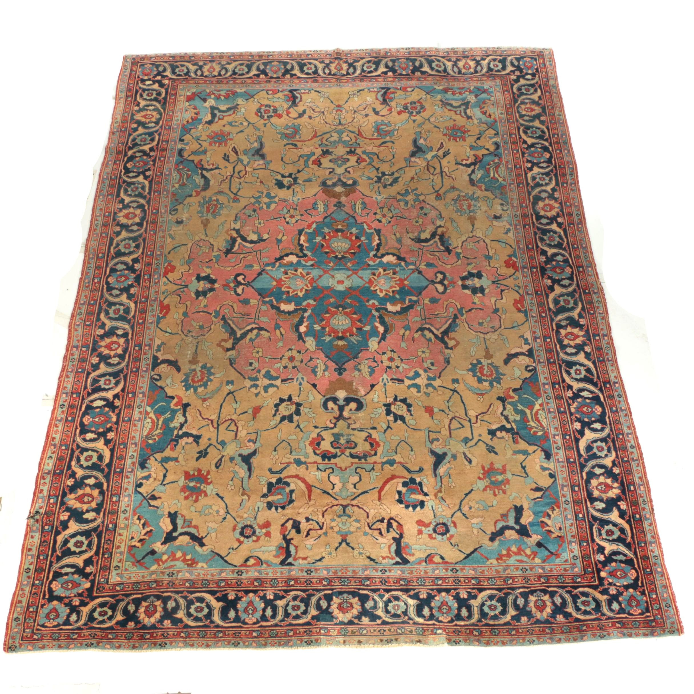 Semi-Antique Hand-Knotted Persian Wool Room Sized Rug