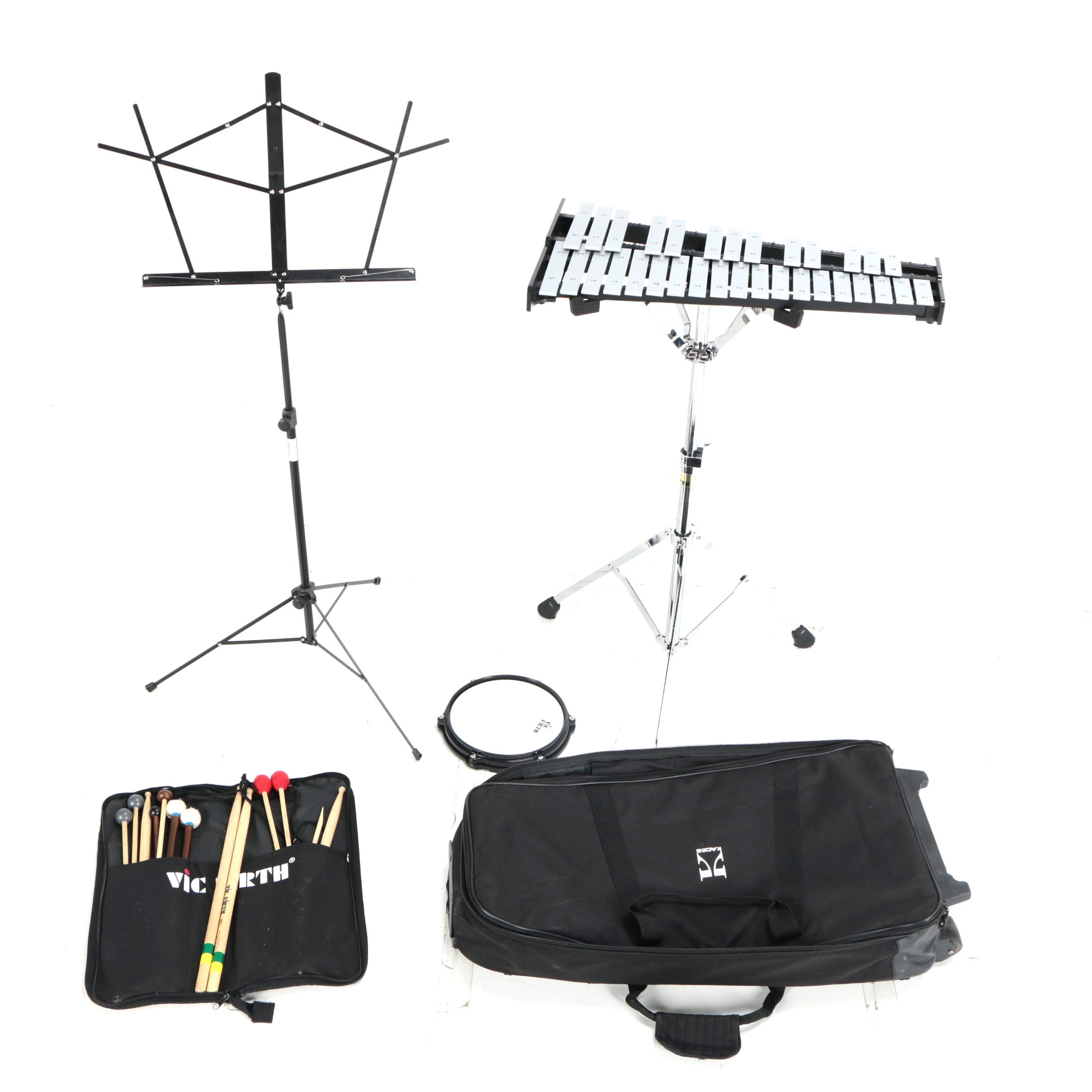 Vic Firth Glockenspiel with Stand, Practice Pad and Rolling Case