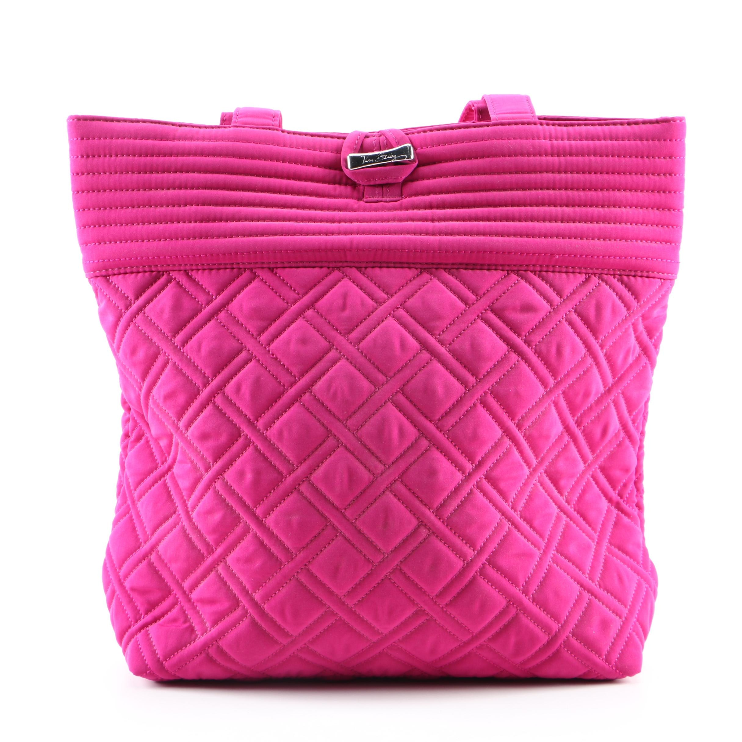 Vera Bradley Magenta Quilted Tote with Silver Tone Hardware and Pattern Lining