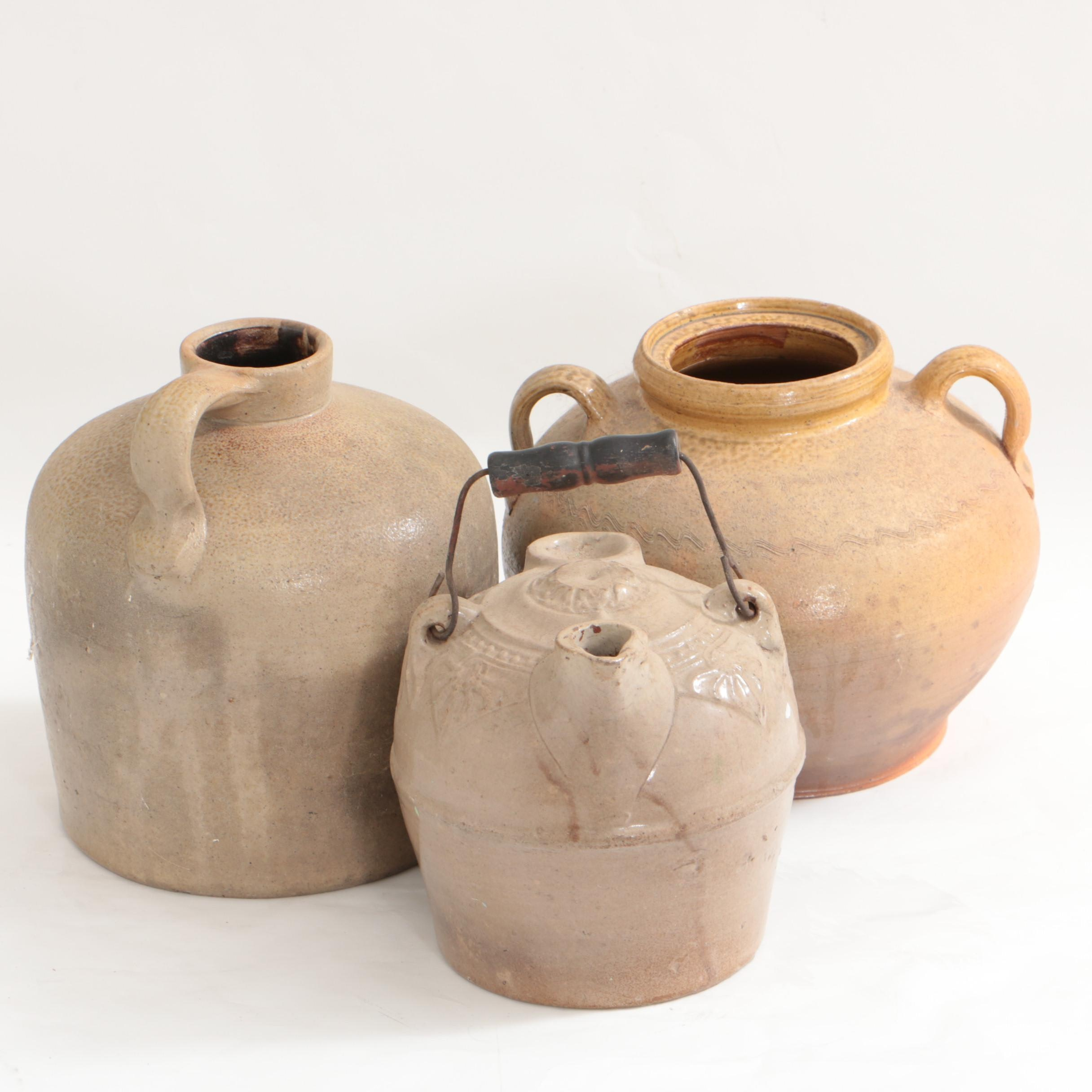 Antique F.H. Weeks Stoneware Syrup Jug, Whiskey Jug and Container